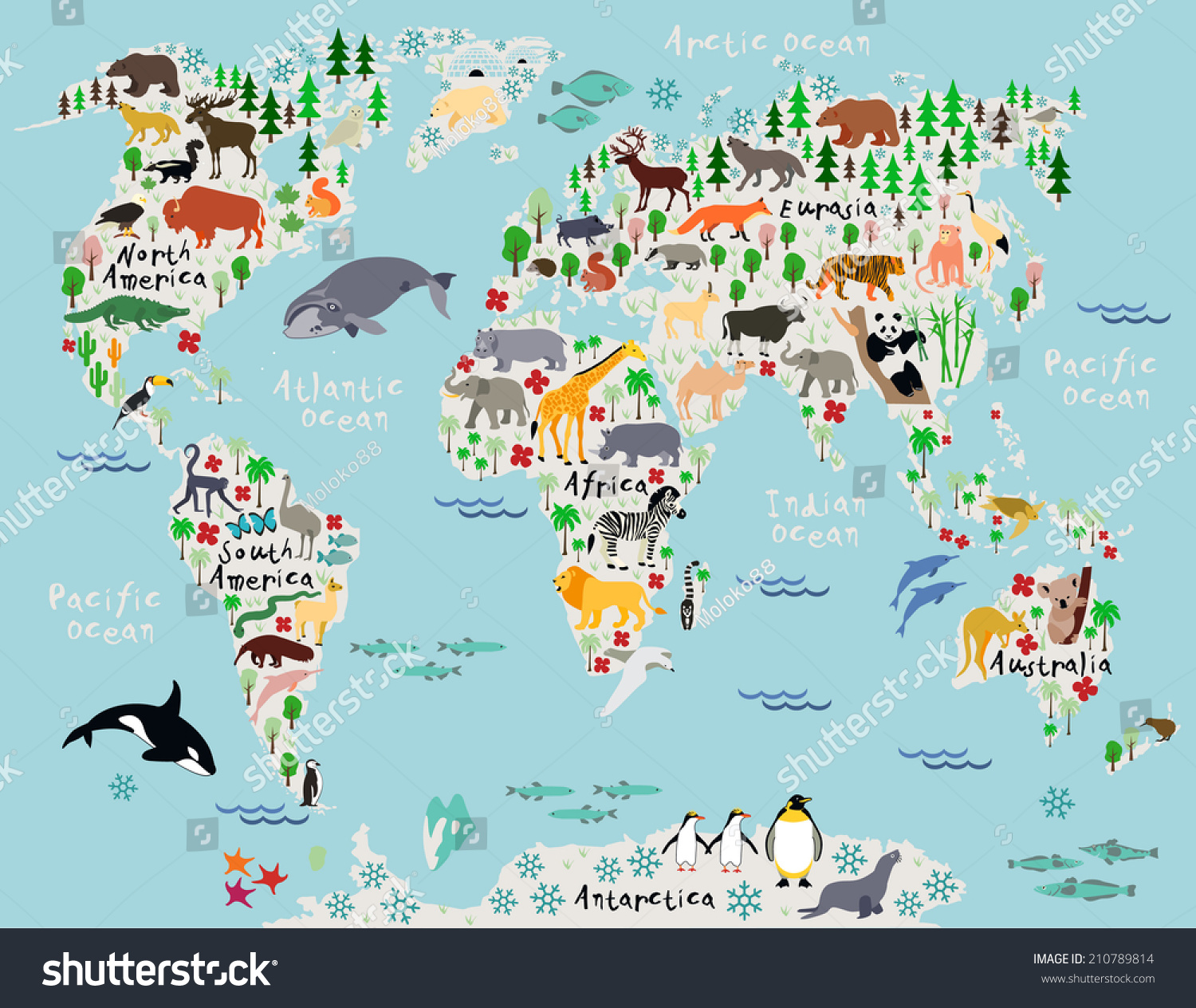 animal map of the world for children and kids. animal map world children kids stock vector   shutterstock