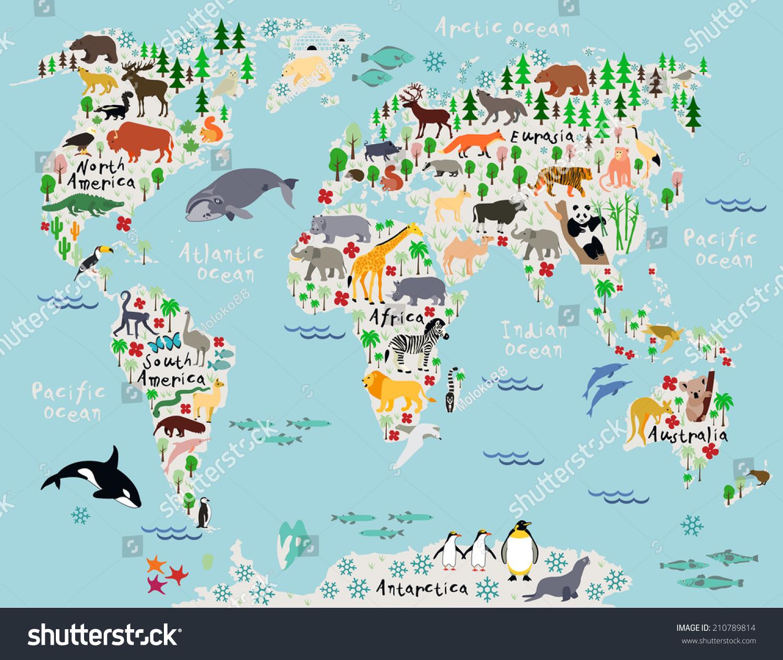 Animal Map World Children Kids Stock Vector Royalty Free 210789814