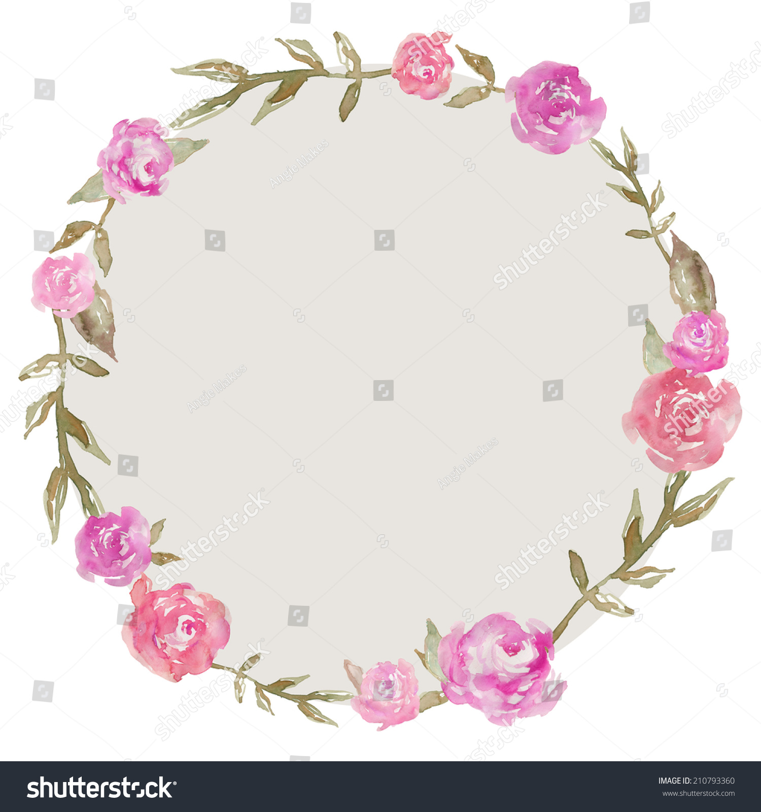 Watercolor Peony Wreath Spring Flower Floral Round Frame