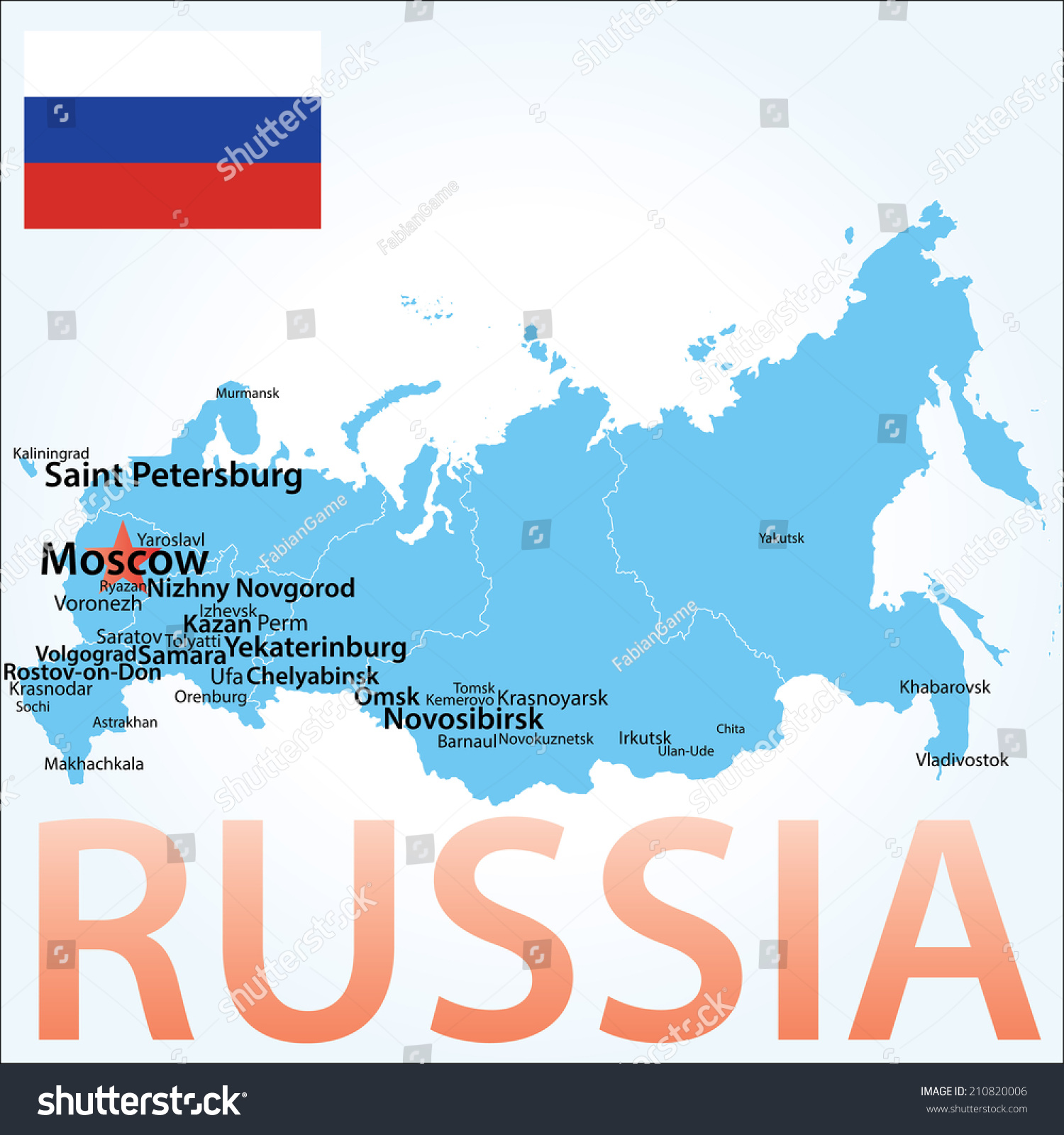 Russia Map Largest Cities Towns Carefully Stock Vector (Royalty Free ...