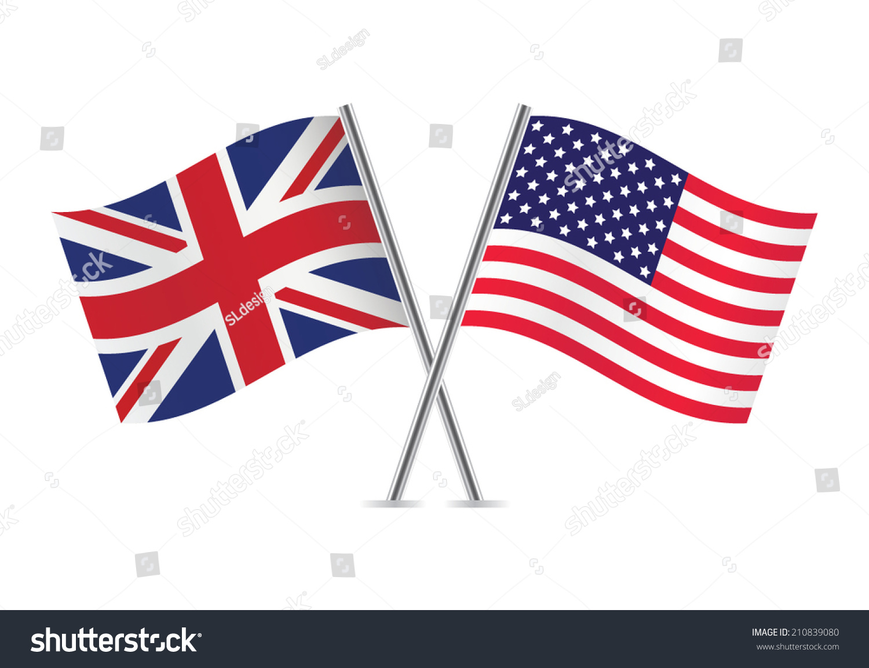 British American Flags Vector Illustration Stock Vector ...