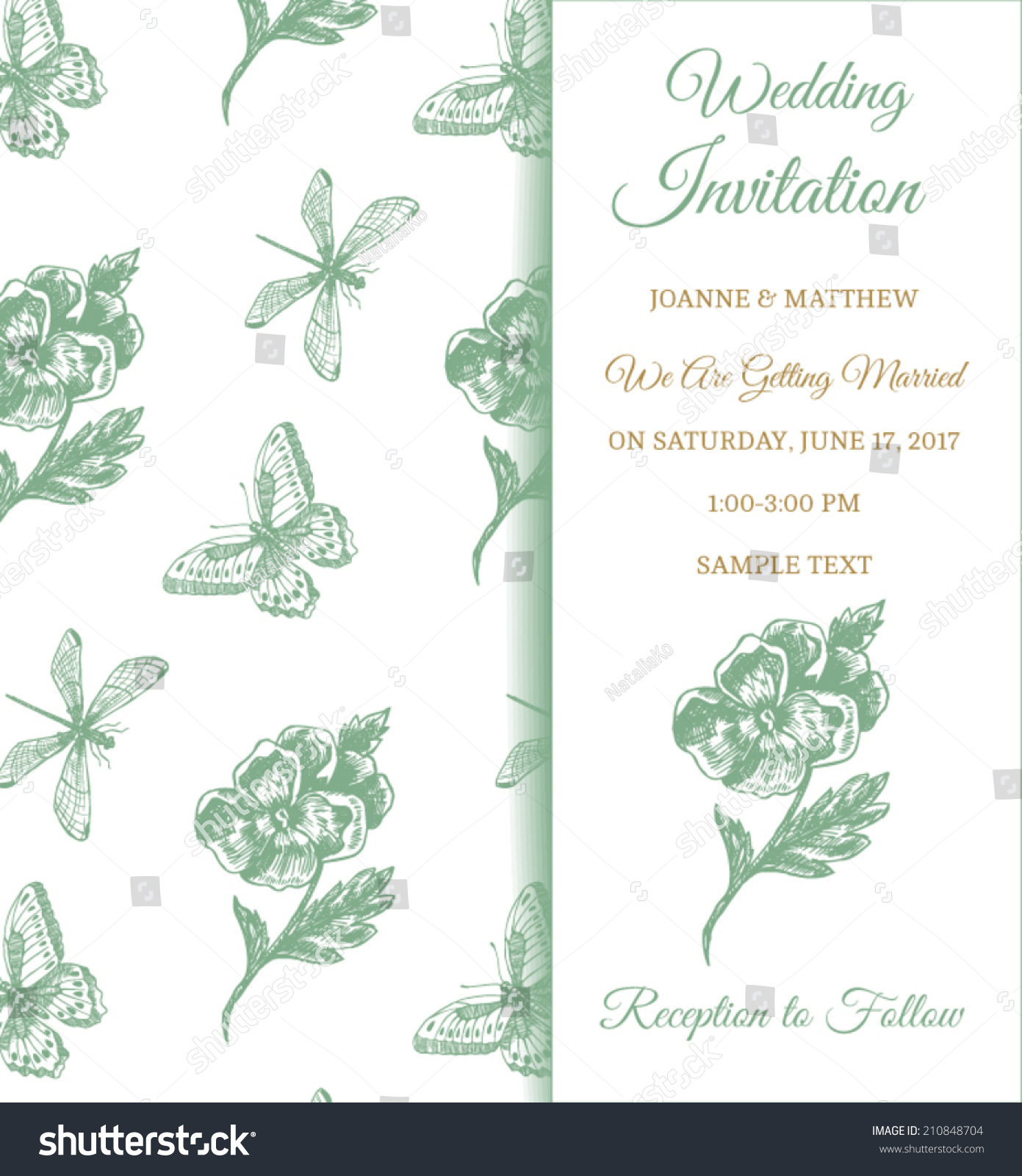 Vector Classical Wedding Invitation Template Flower Stock Vector ...