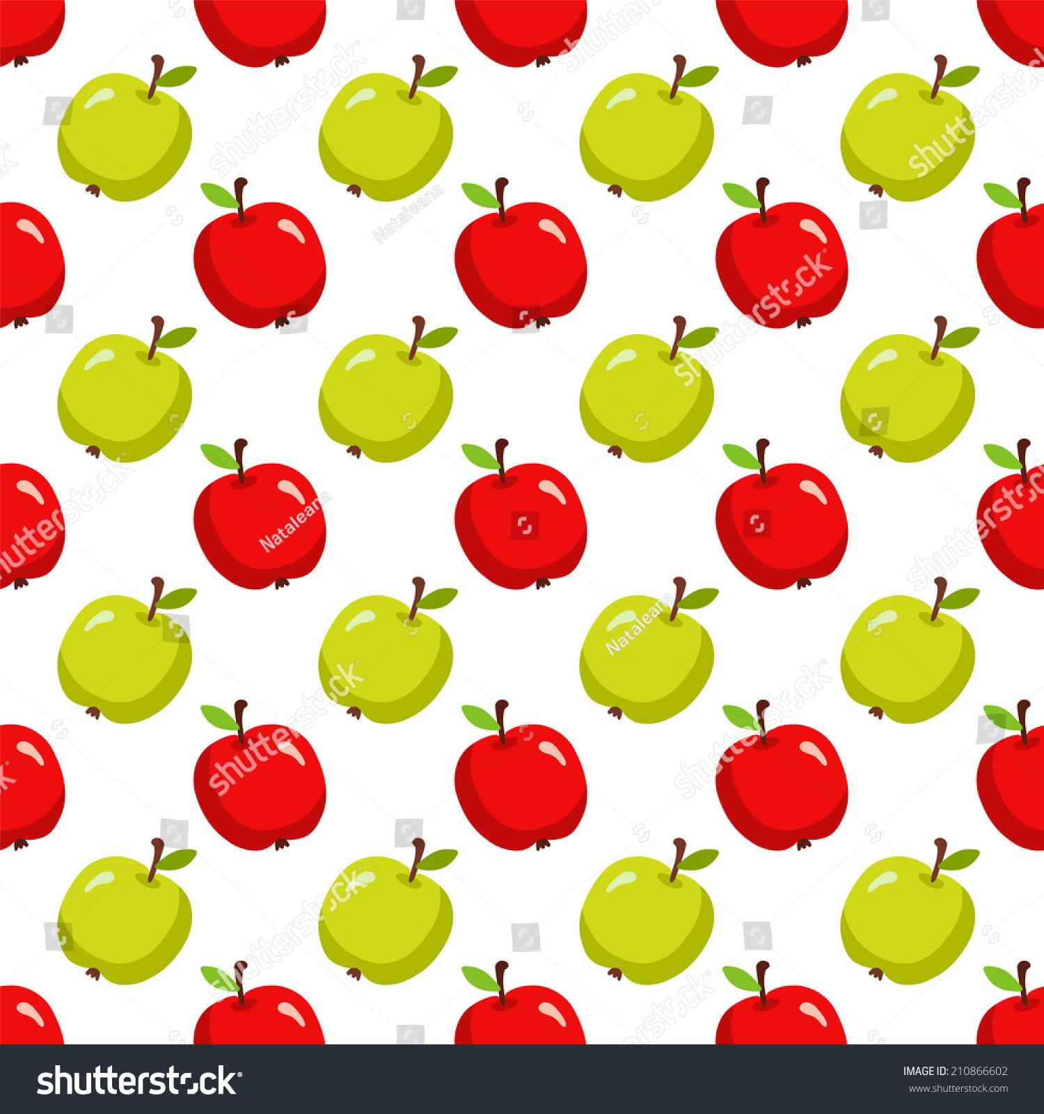 seamless pattern cartoon apples on white stock illustration