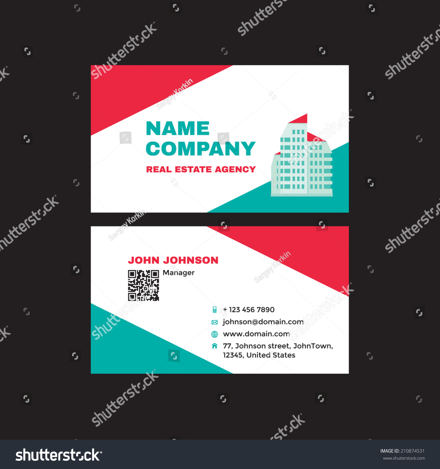 Real Estate Business Visit Card Creative Stock Vector 210874531 ...