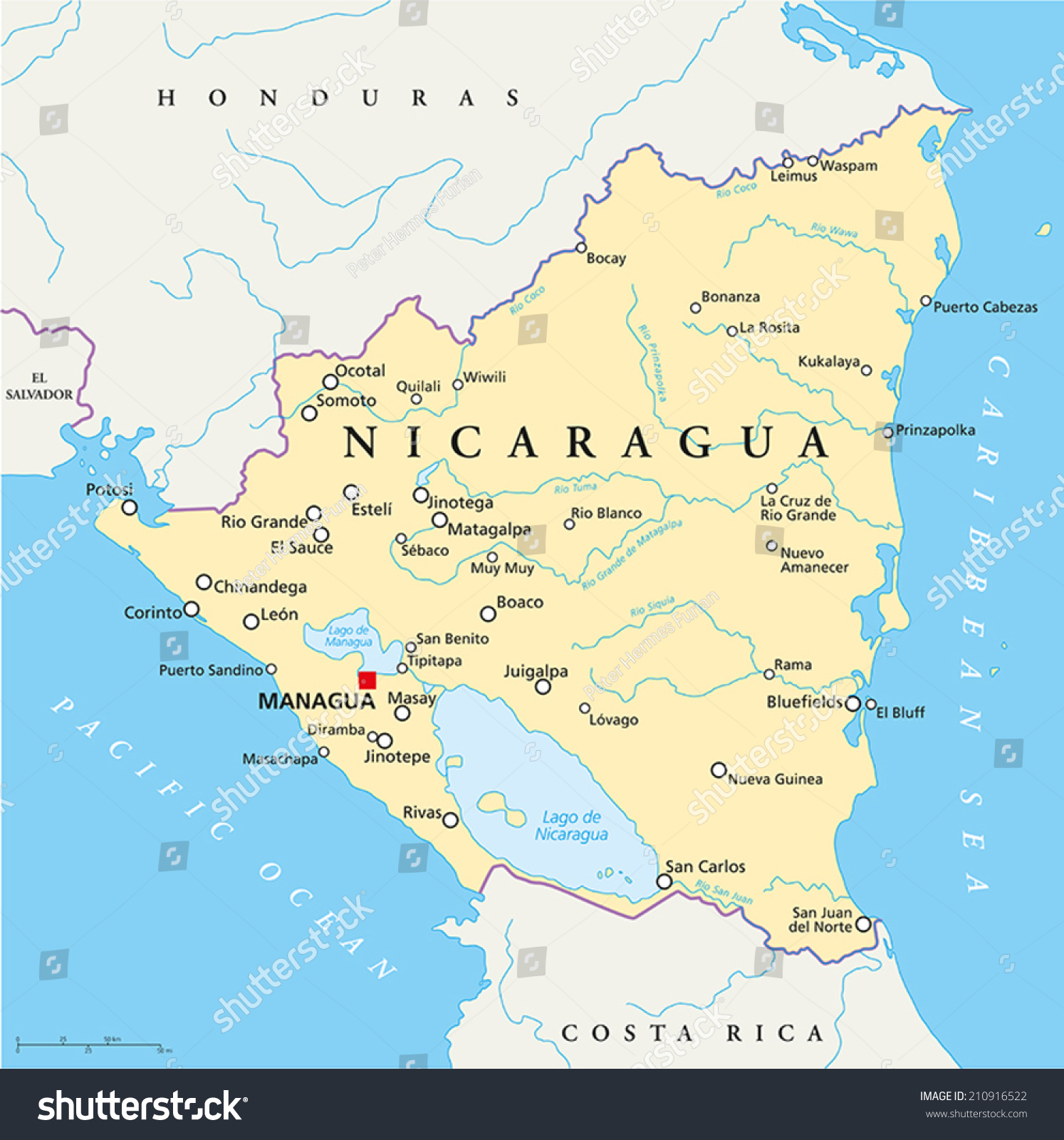 Nicaragua Political Map With Capital Managua, With National Borders, Most  Important Cities, Rivers