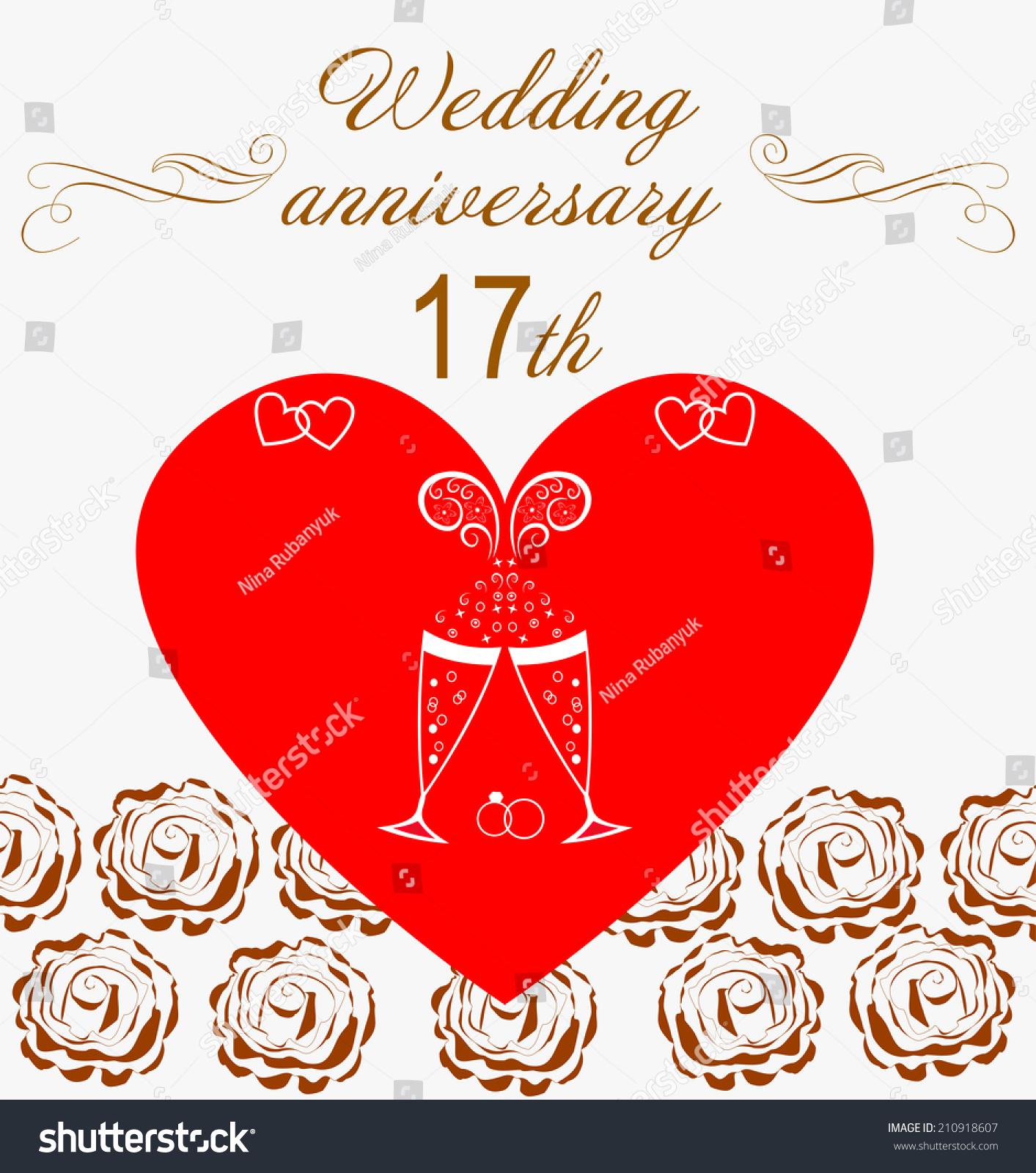 17 Th Wedding Anniversary Invitation Stock Vector (Royalty Free ...