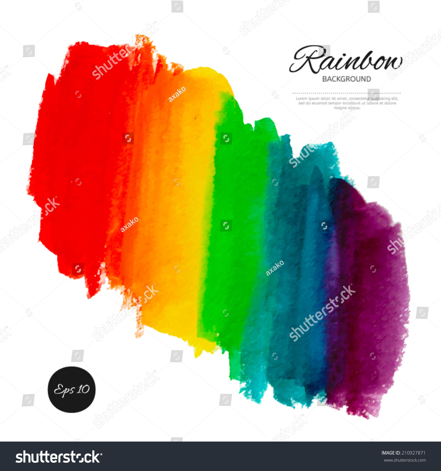 Vector Rainbow Watercolor Abstract Background Hand Stock Vector