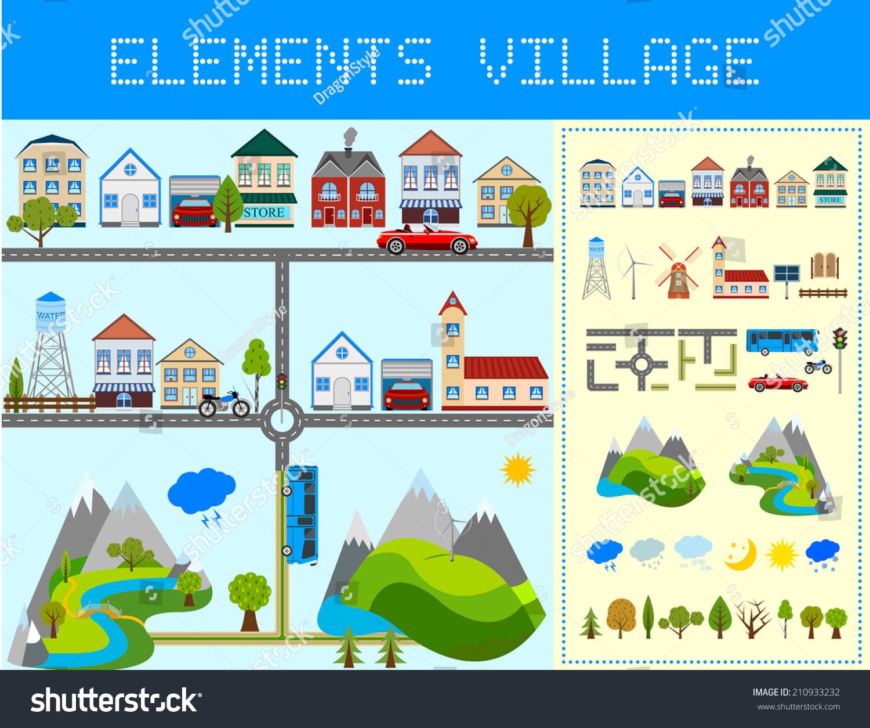 Elements of the modern village design your own village vector illustration