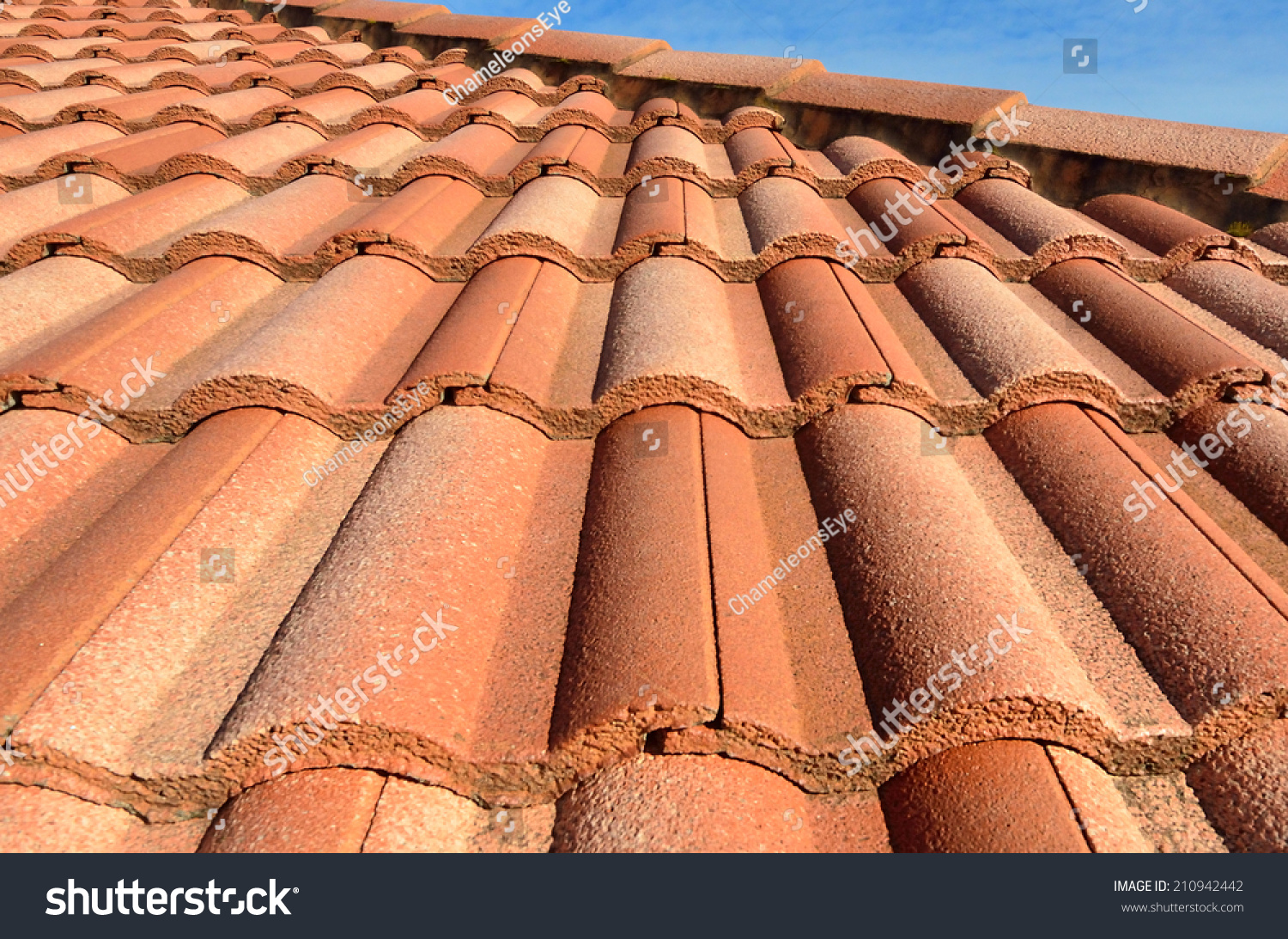 Spanish Style Ceramic Tile Roof Blue Stock Photo Edit Now