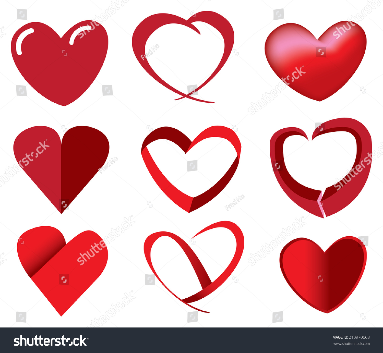 Vector illustration red heart shape different stock vector vector illustration of red heart shape in different fun designs buycottarizona