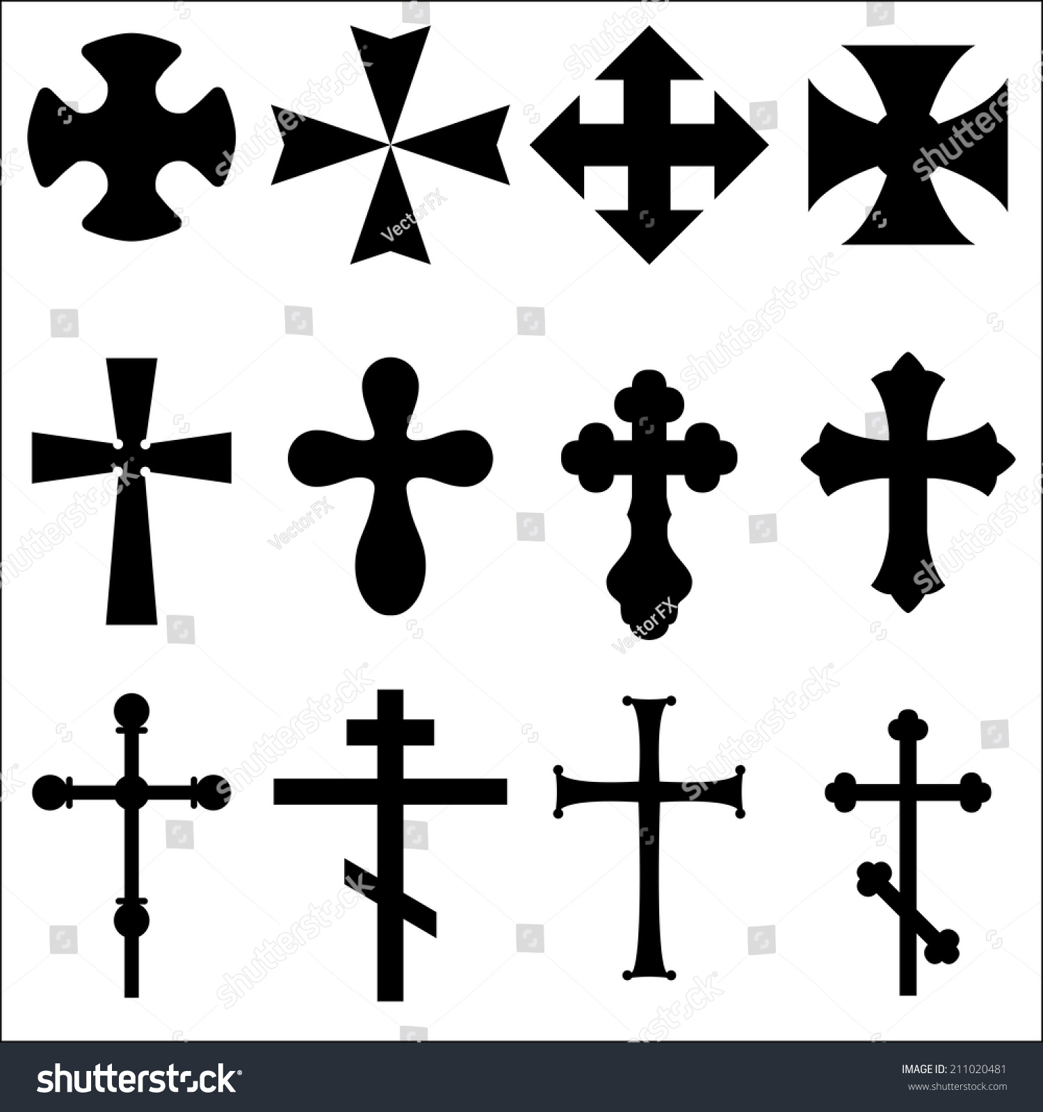 Royalty free illustrations of crosses different 211020481 stock black silhouettes of crosses catholic orthodox christian celtic pagan symbols of different religions crosses for the grave white background buycottarizona