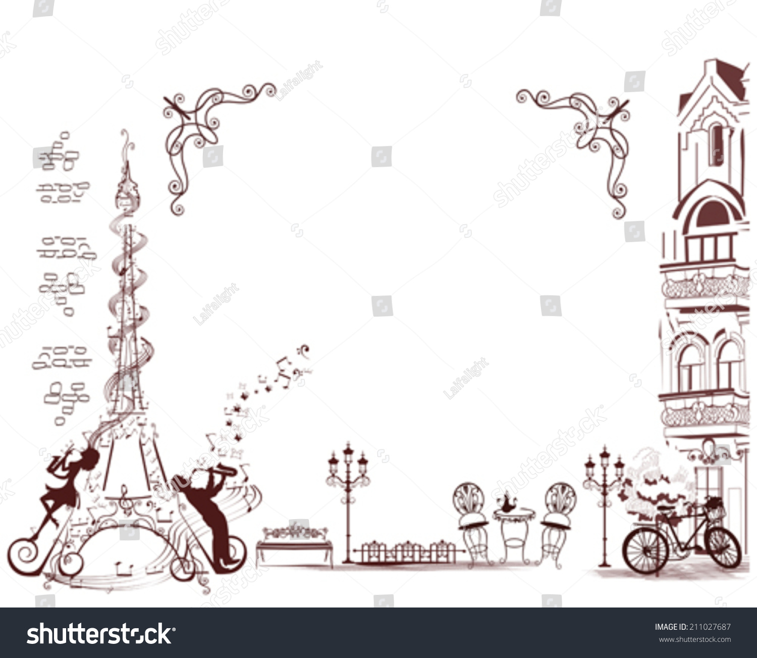 romantic eiffel tower decorated with a musical stave notes and musicians french frame