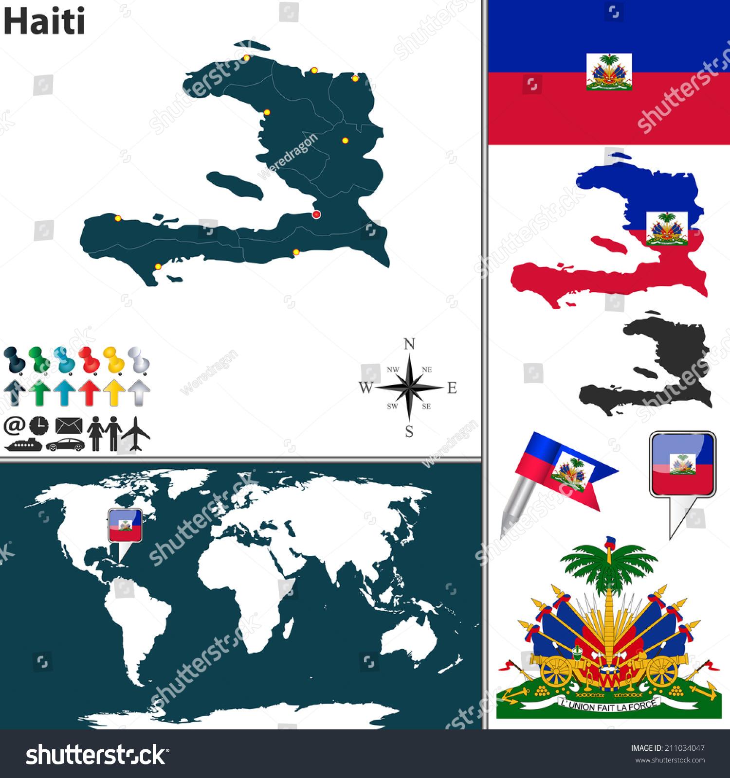 Vector Map Haiti Regions Coat Arms Stock Vector - Haiti regions map