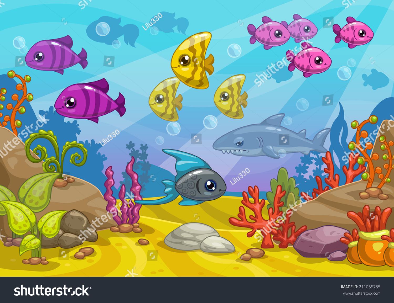underwater world cartoon vector illustration stock vector