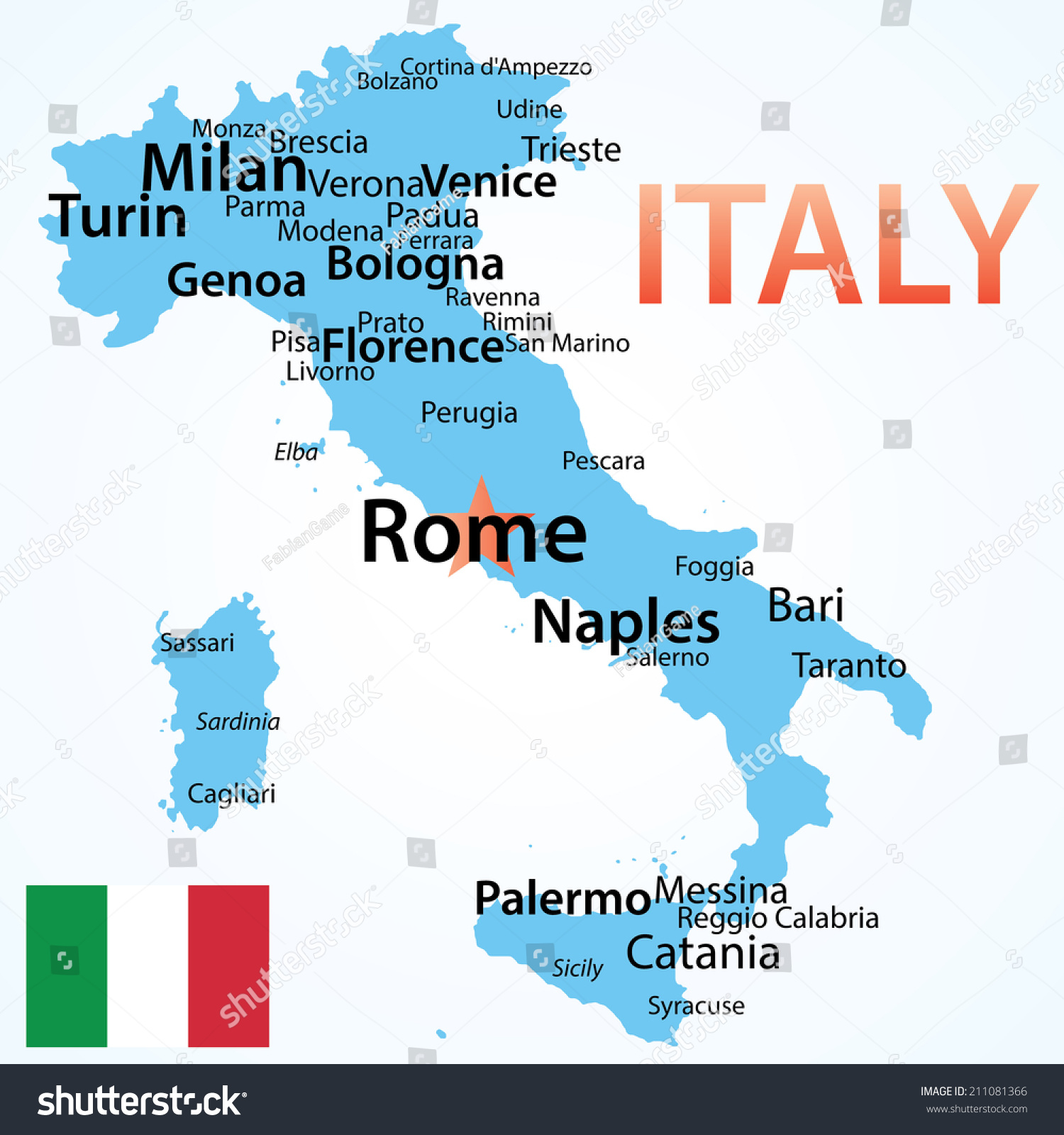 Italy Map Italy Largest Cities Carefully Stock Vector - Cities map of italy