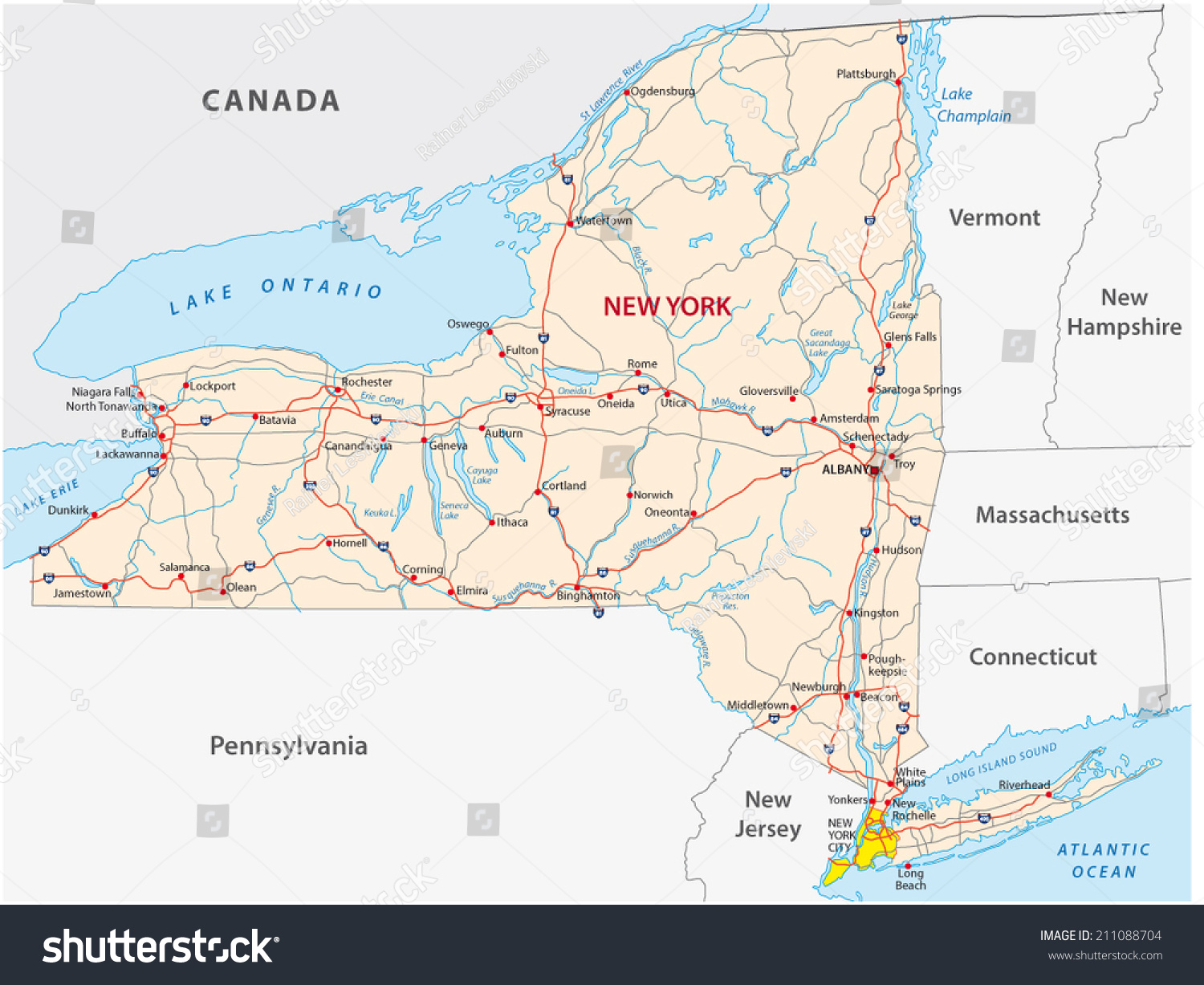 New York State Road Map Stock Vector Shutterstock - Road map new york state