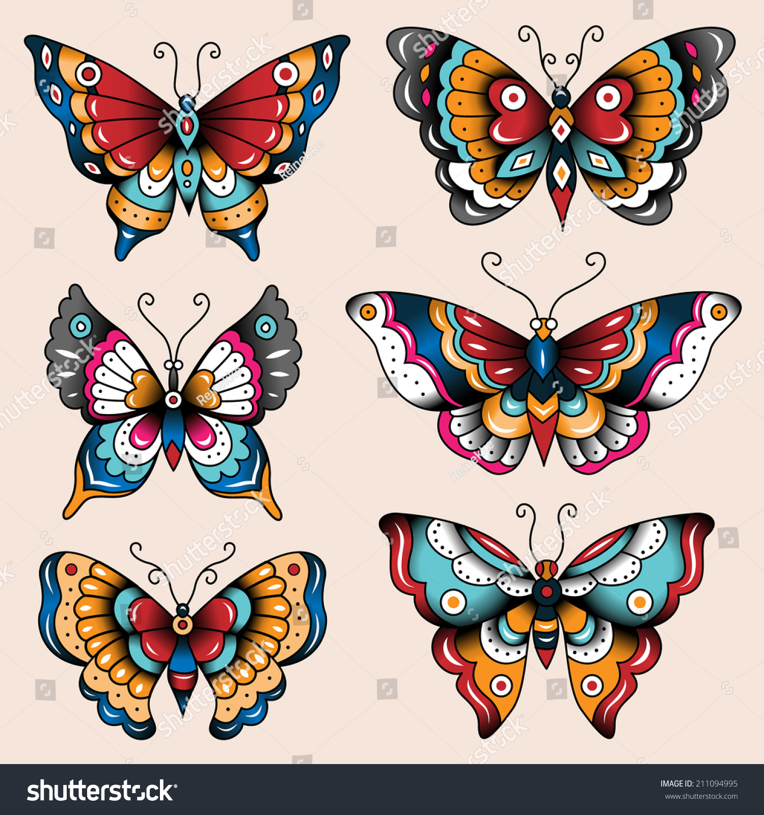Set old school tattoo art butterflies stock vector for Art de decoration
