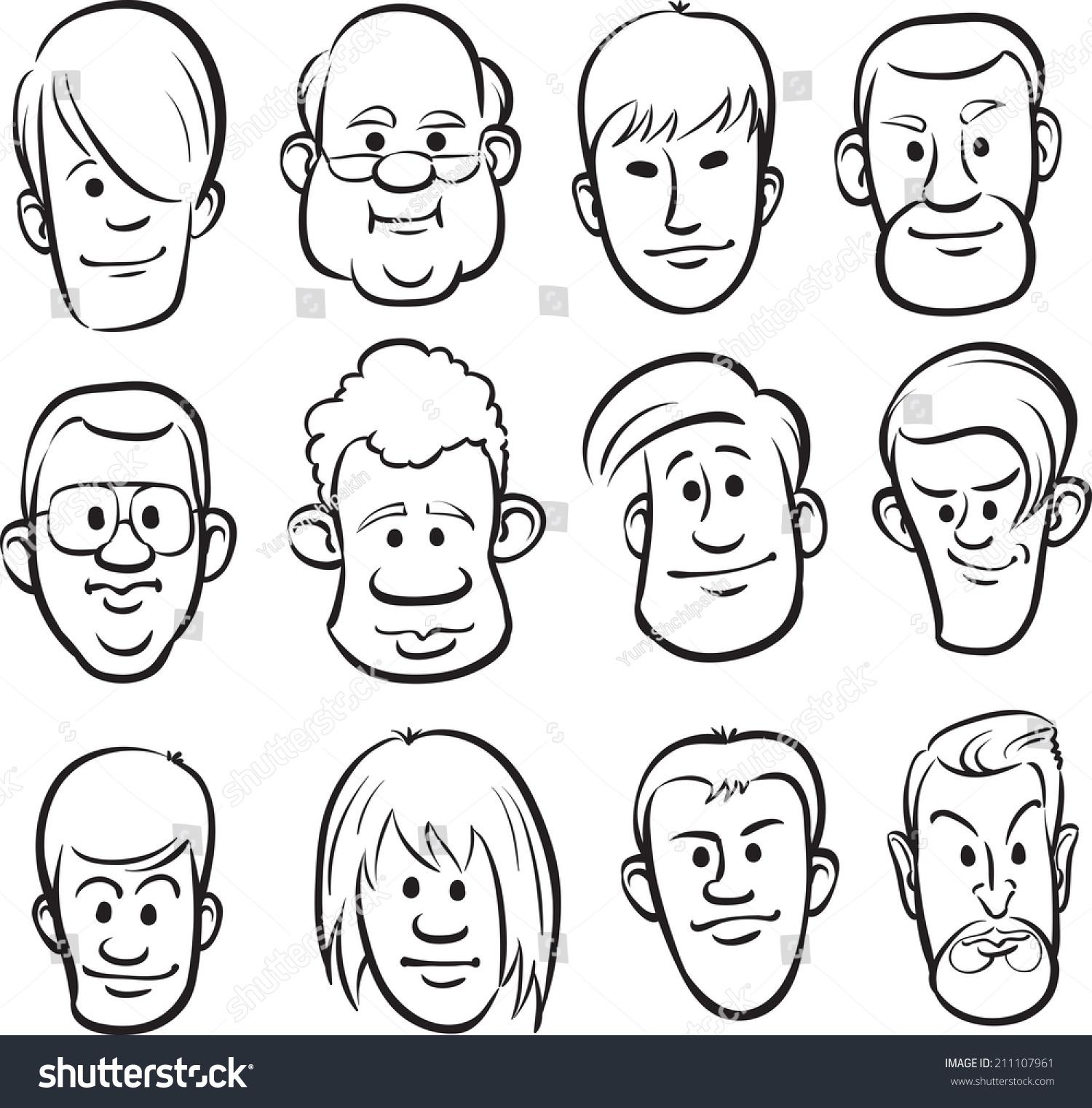 Whiteboard drawing men faces cartoon heads 211107961
