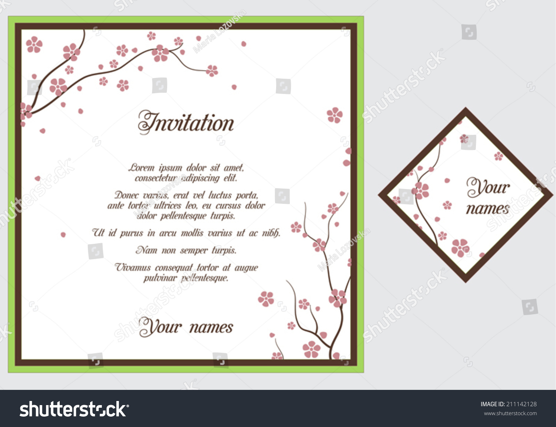 Wedding Invitation Card Vector Sakura Blossom Stock Photo (Photo ...