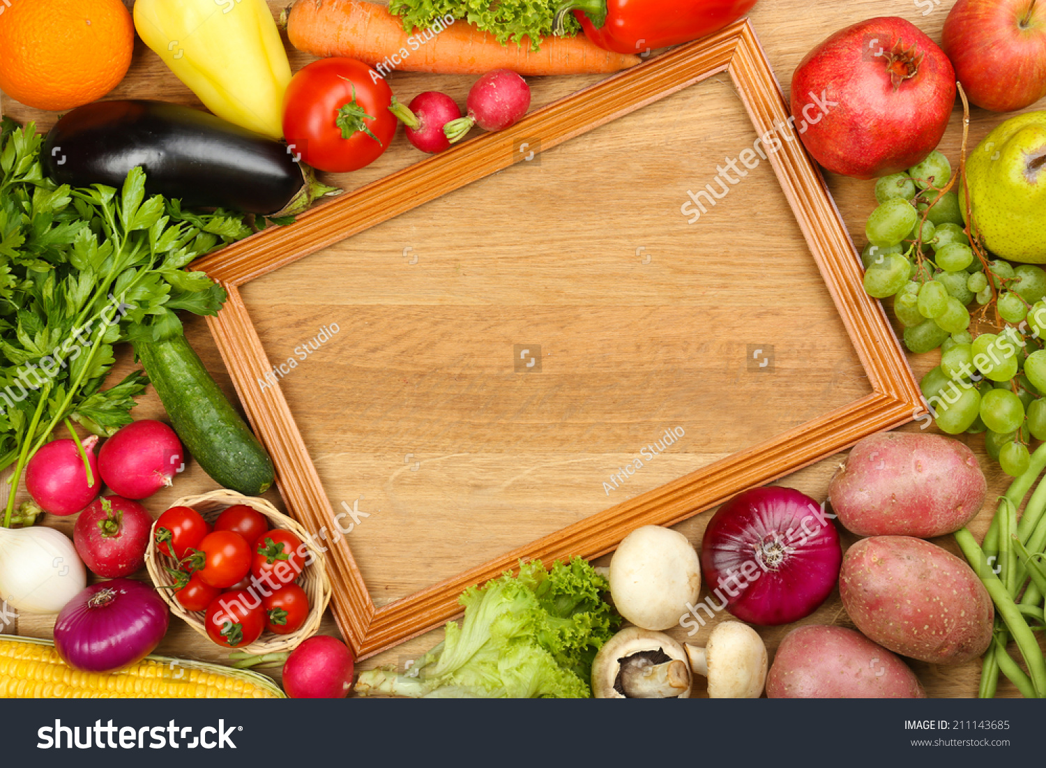 Summer Frame Fresh Organic Vegetables Fruits Stock Photo ...