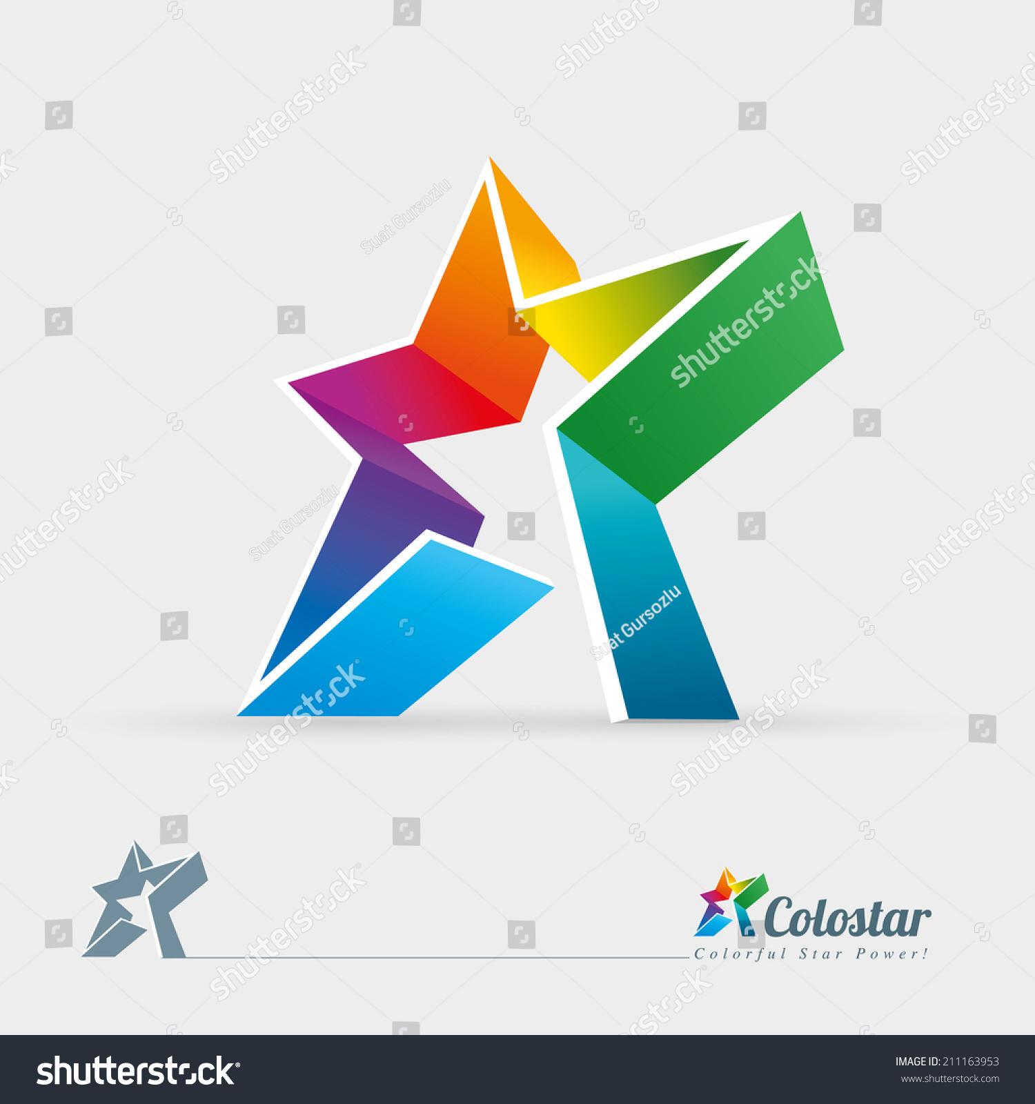 vector 3d colorful star logo design stock vector 211163953
