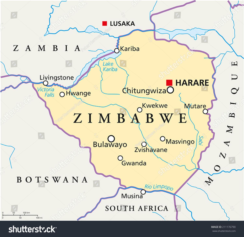 Zimbabwe Political Map Capital Harare National Stock Vector - Zimbabwe map