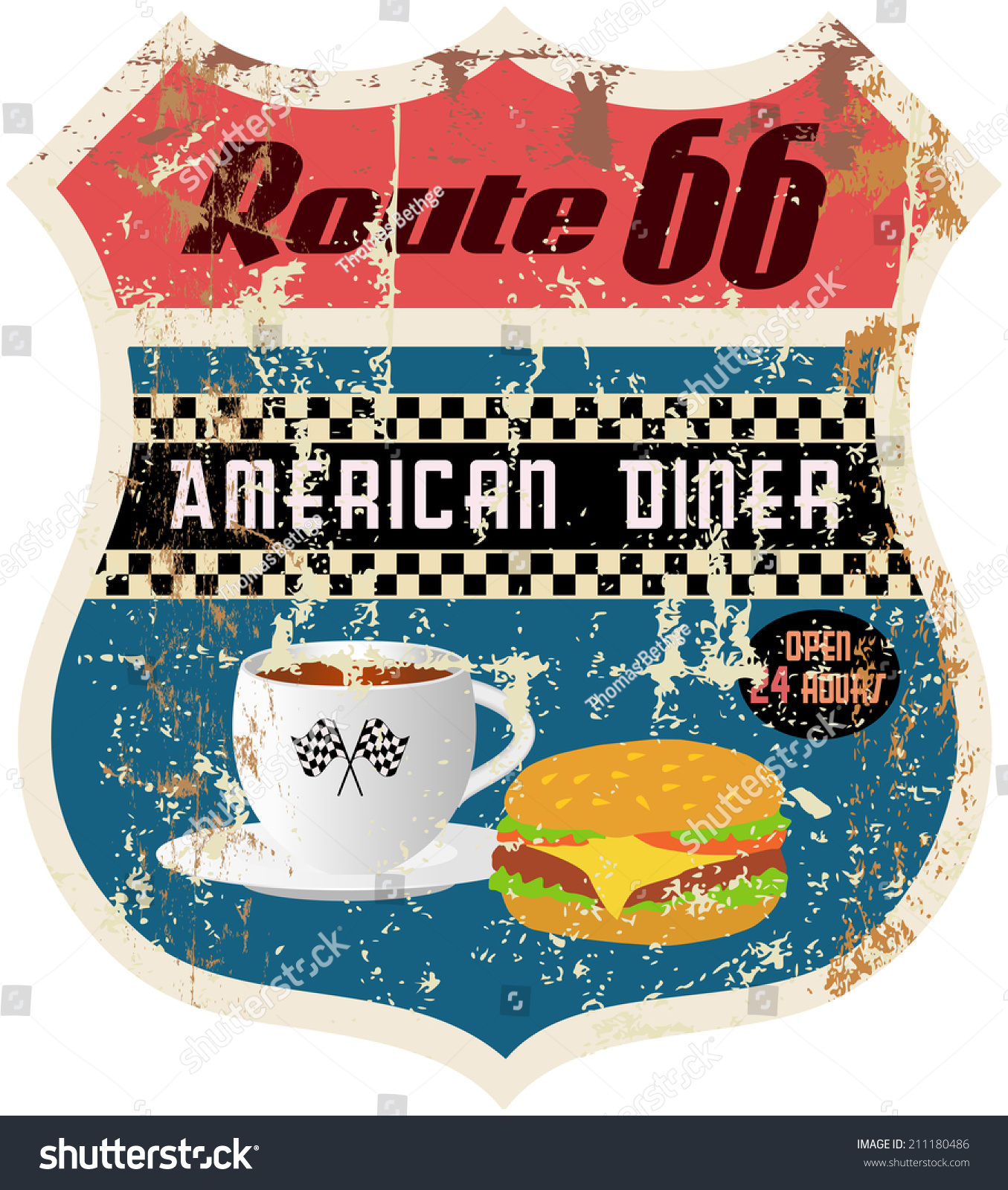 Retro American Diner Sign Worn Weathered Stock Vector 211180486 ...