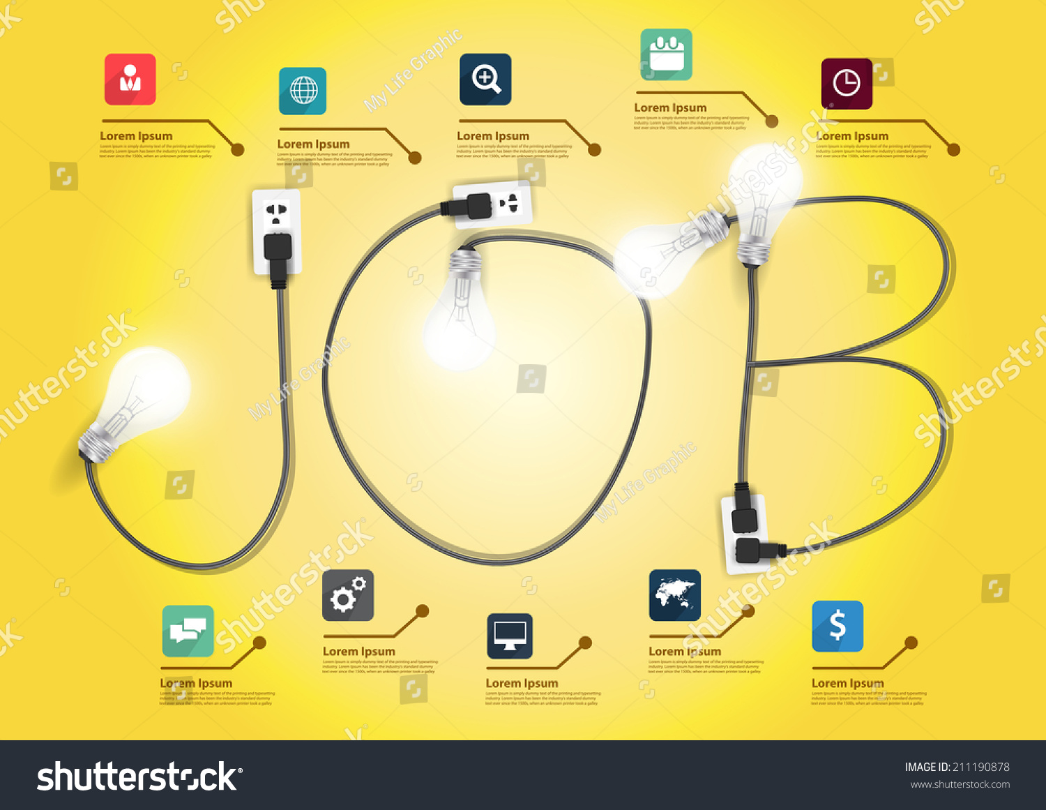 job concept creative light bulb ideas stock vector  job concept creative light bulb ideas business flat icons set abstract info graphic