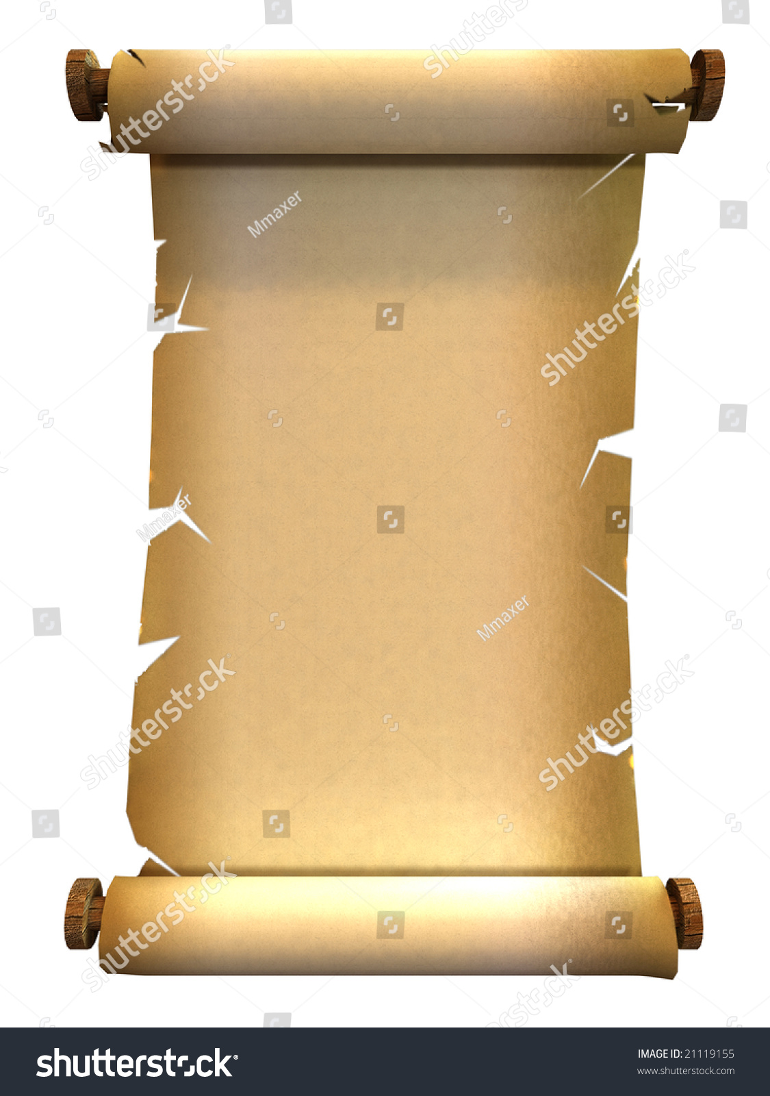 3d Scroll Of Parchment Photo: 3d Render Of An Ancient Paper Scroll Stock Photo 21119155