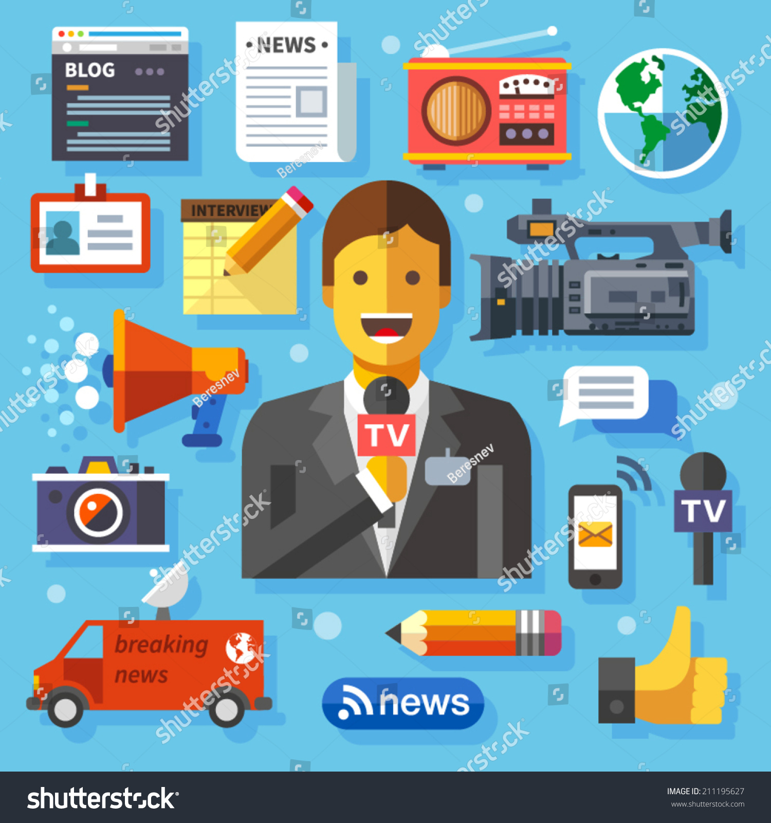 color vector flat icon set illustrations stock vector  color vector flat icon set and illustrations modern information technology and news release journalist