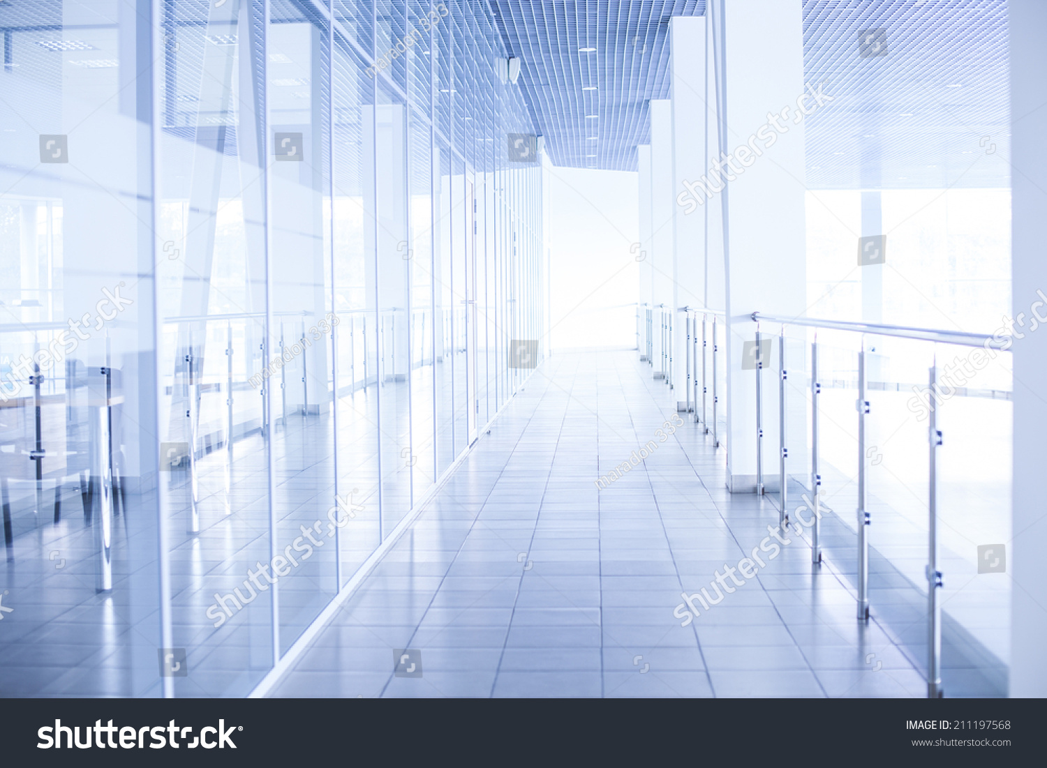 office backdrop. Background Of Glass Corridor In Office Centre Backdrop Floor Roof Wall Perspective