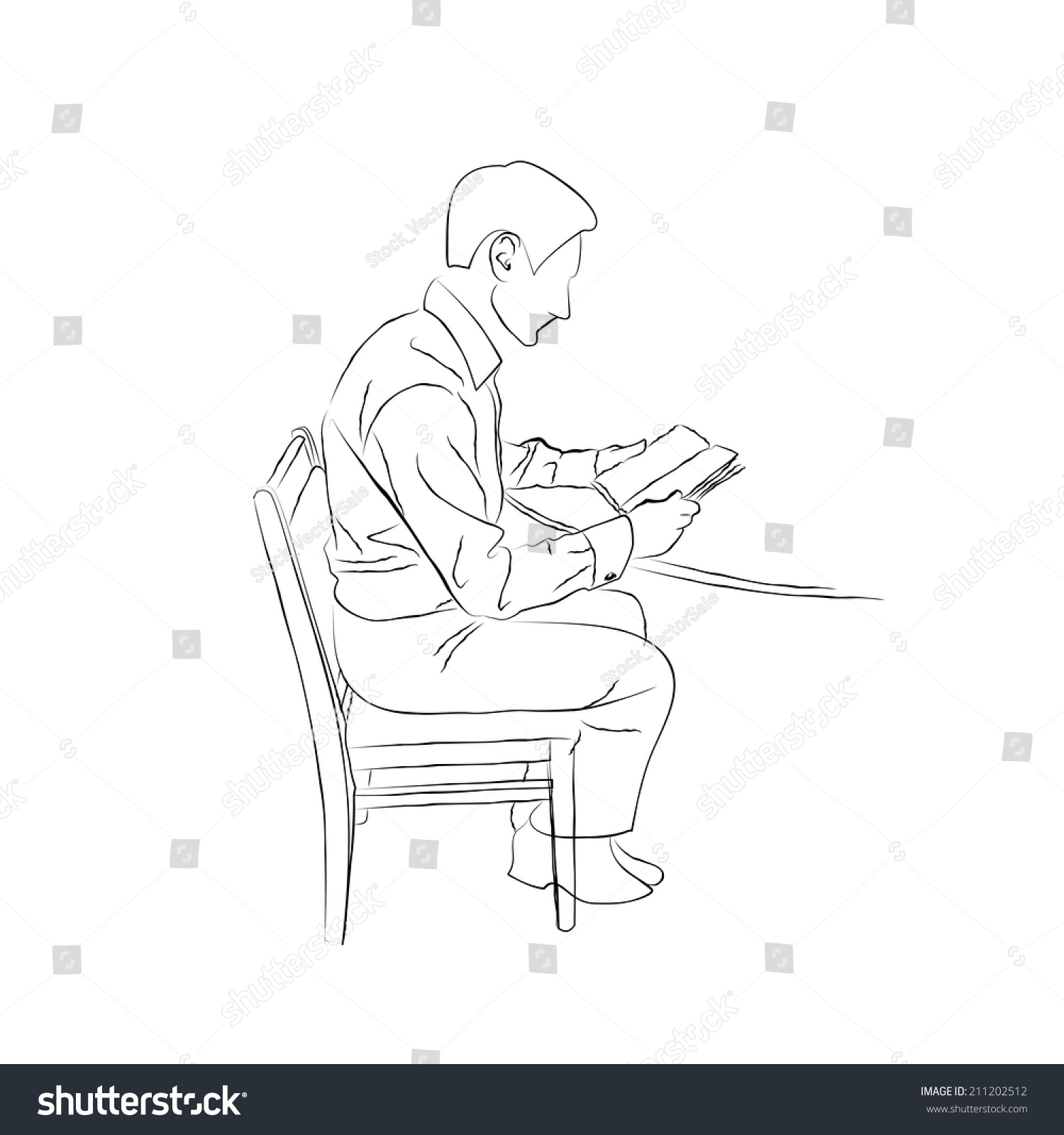 Man sitting in chair drawing - Sketch Doodle Man Sitting At The Table On A Chair And Reading A Book