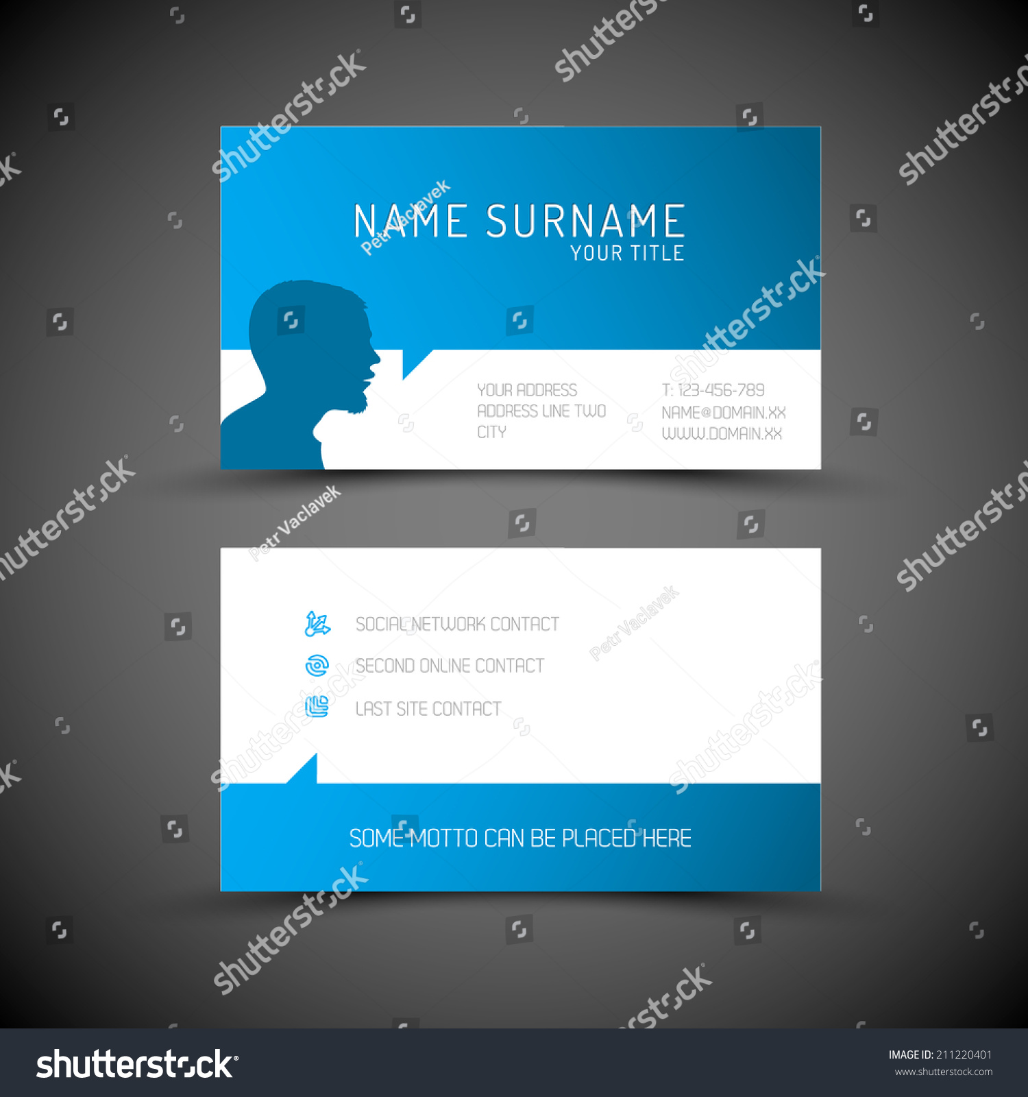 Modern simple blue business card template stock vector 211220401 modern simple blue business card template with user profile and big speech bubble magicingreecefo Images
