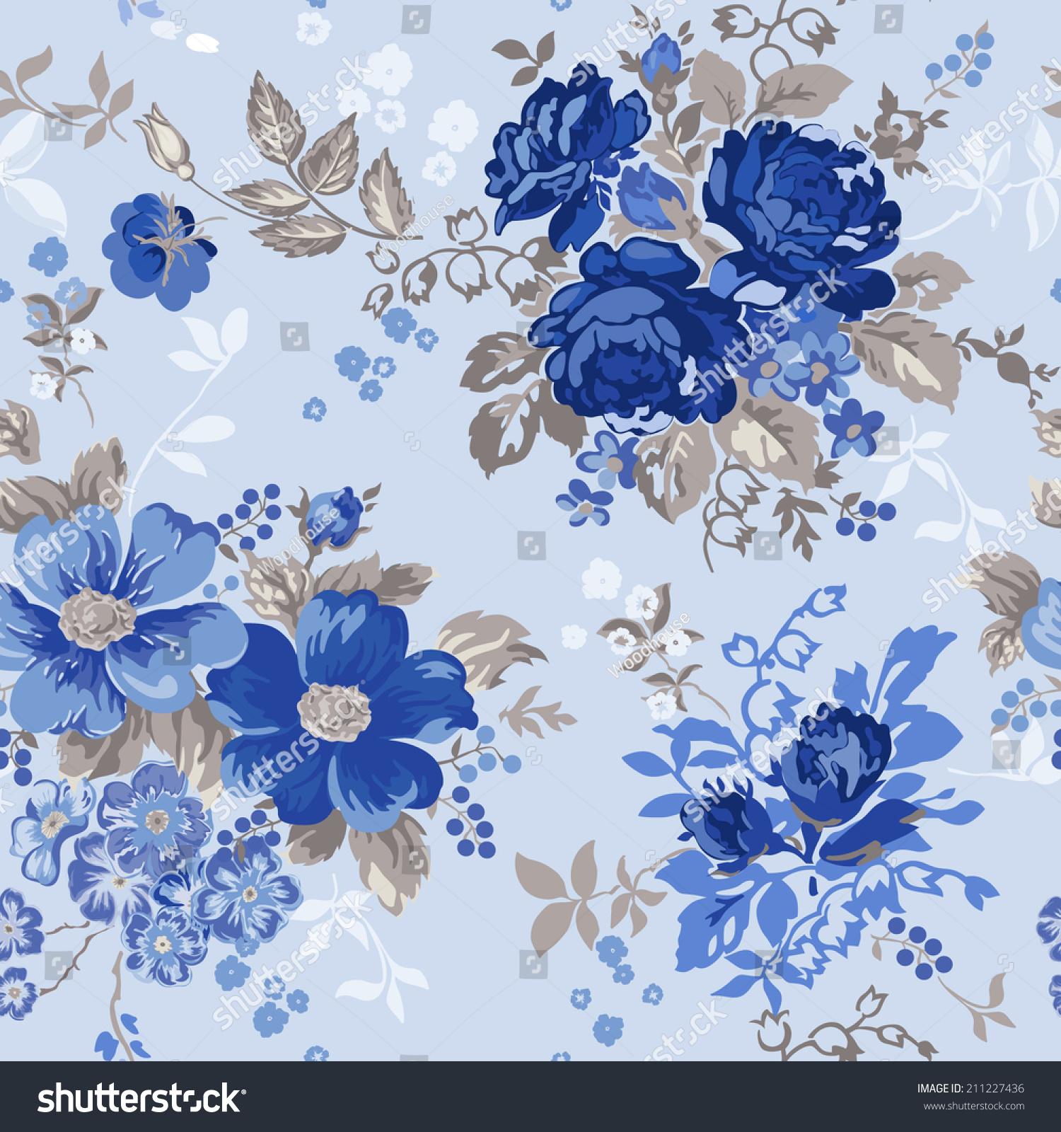 Vintage Floral Background Seamless Pattern Design Stock Vector
