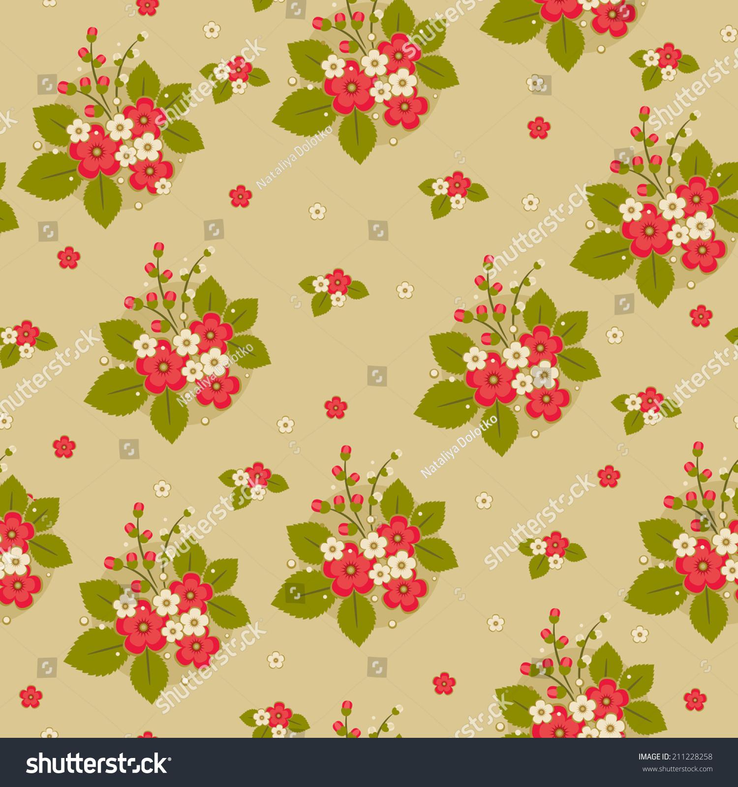 Bunch Red White Flowers Green Leaves Stock Illustration 211228258