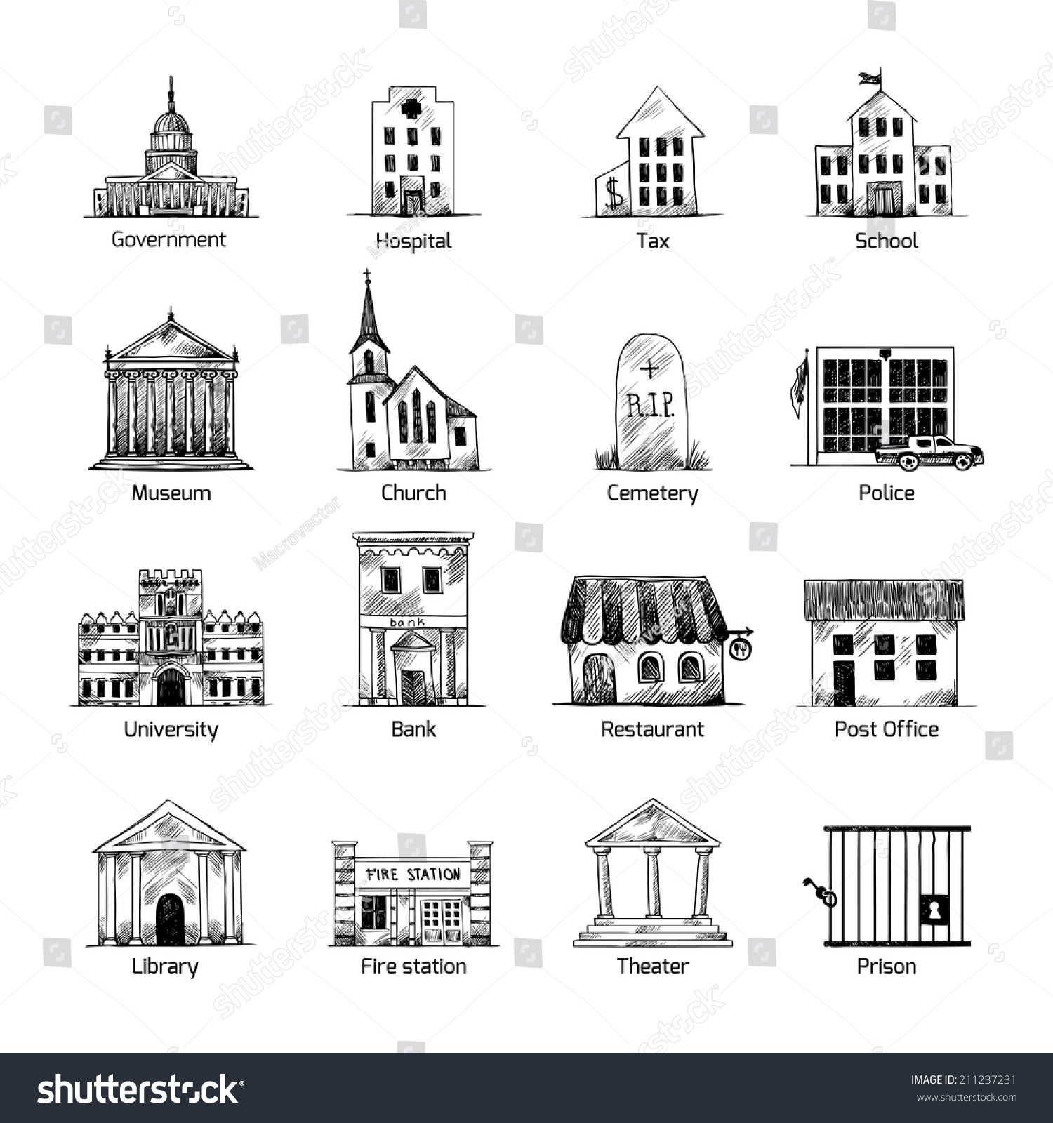 Government Building Icons Set Hand Draw Stock Vector ...