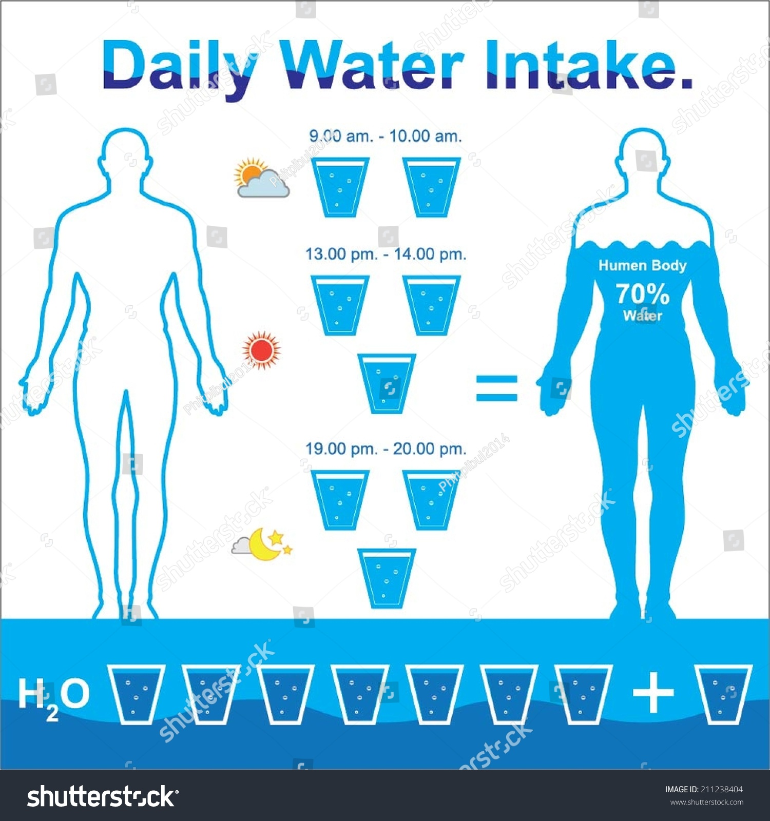 daily water intake stock vector 211238404   shutterstock