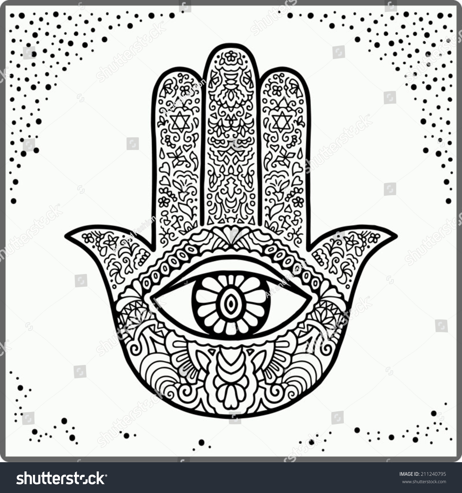 hand drawn boho hamsa hand protection stock vector