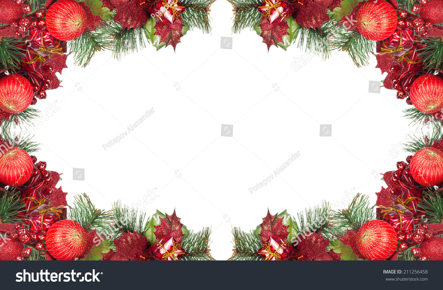 Frame from red and green christmas decorations isolated on for Red white green christmas decor