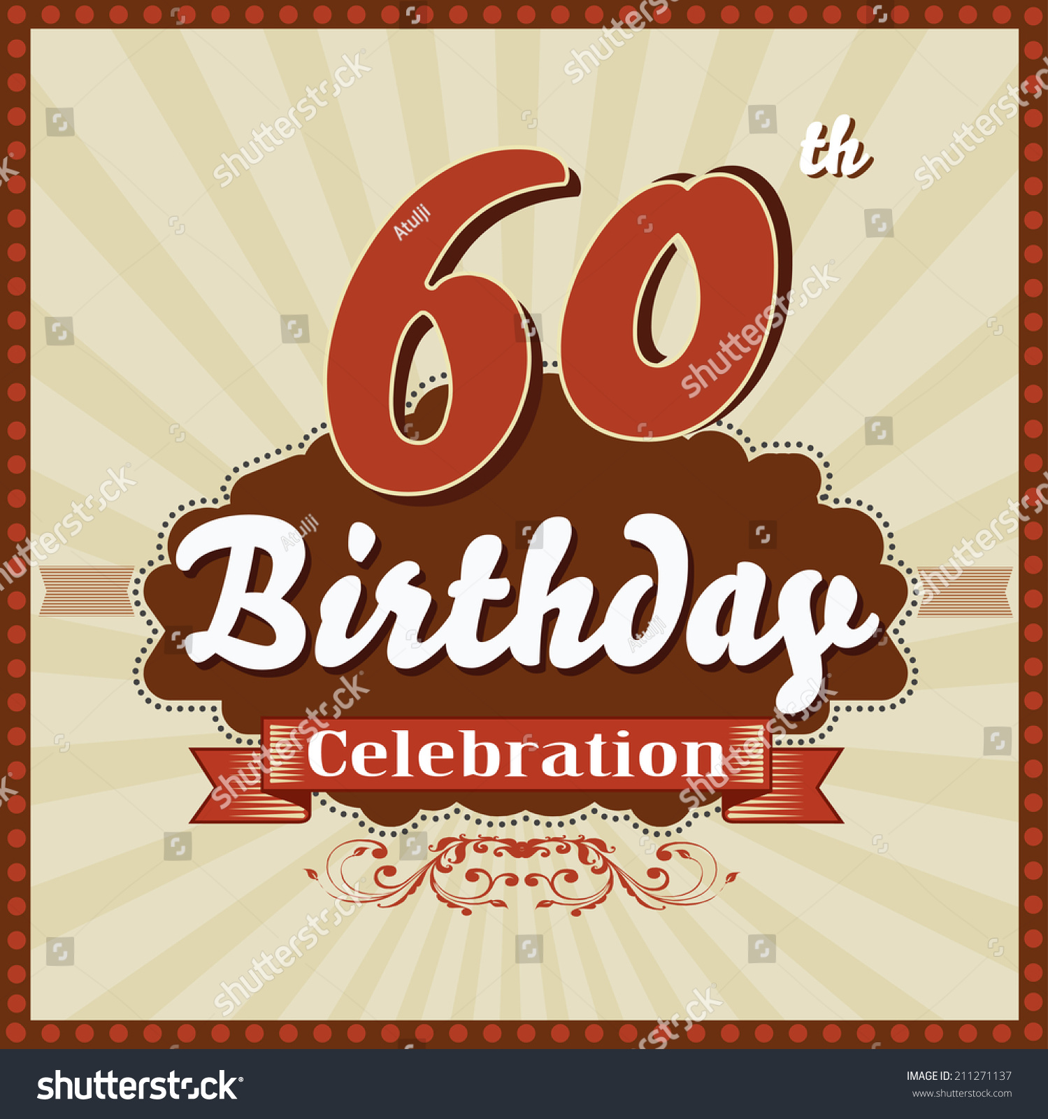 60 Years Celebration 60th Happy Birthday Stock Vector (Royalty Free ...