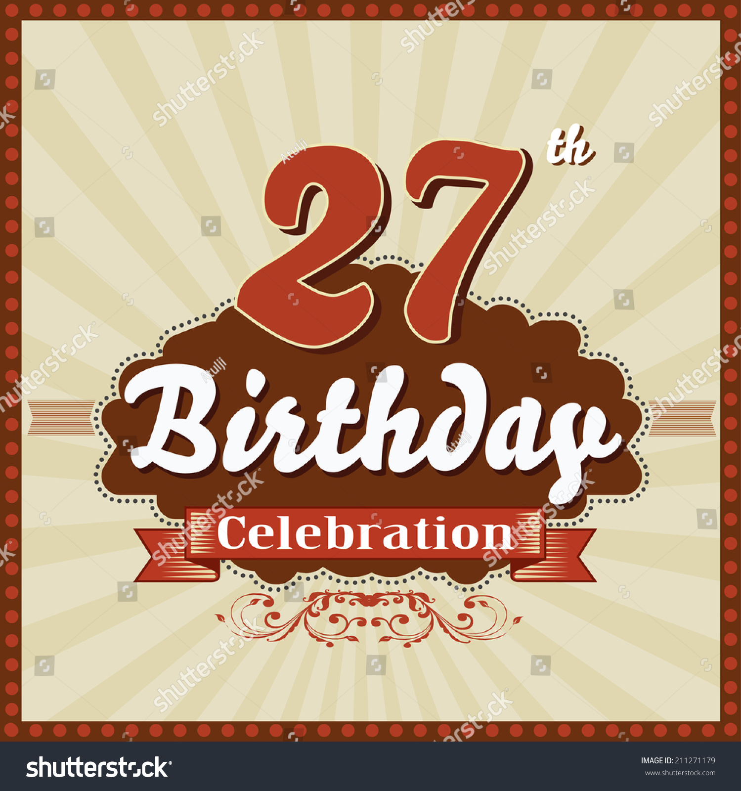 27 Years Celebration 27th Happy Birthday Stock Vector