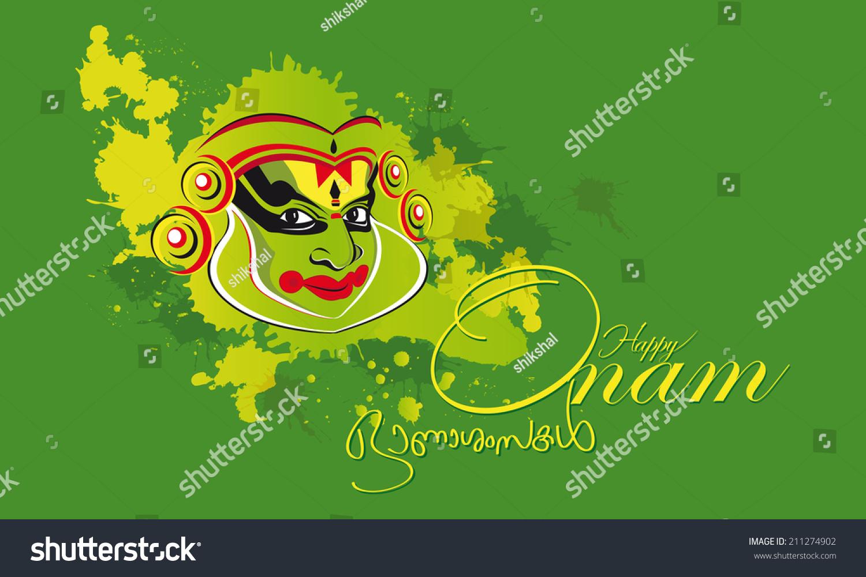 Onam Greeting Kathakali Stock Vector Royalty Free 211274902