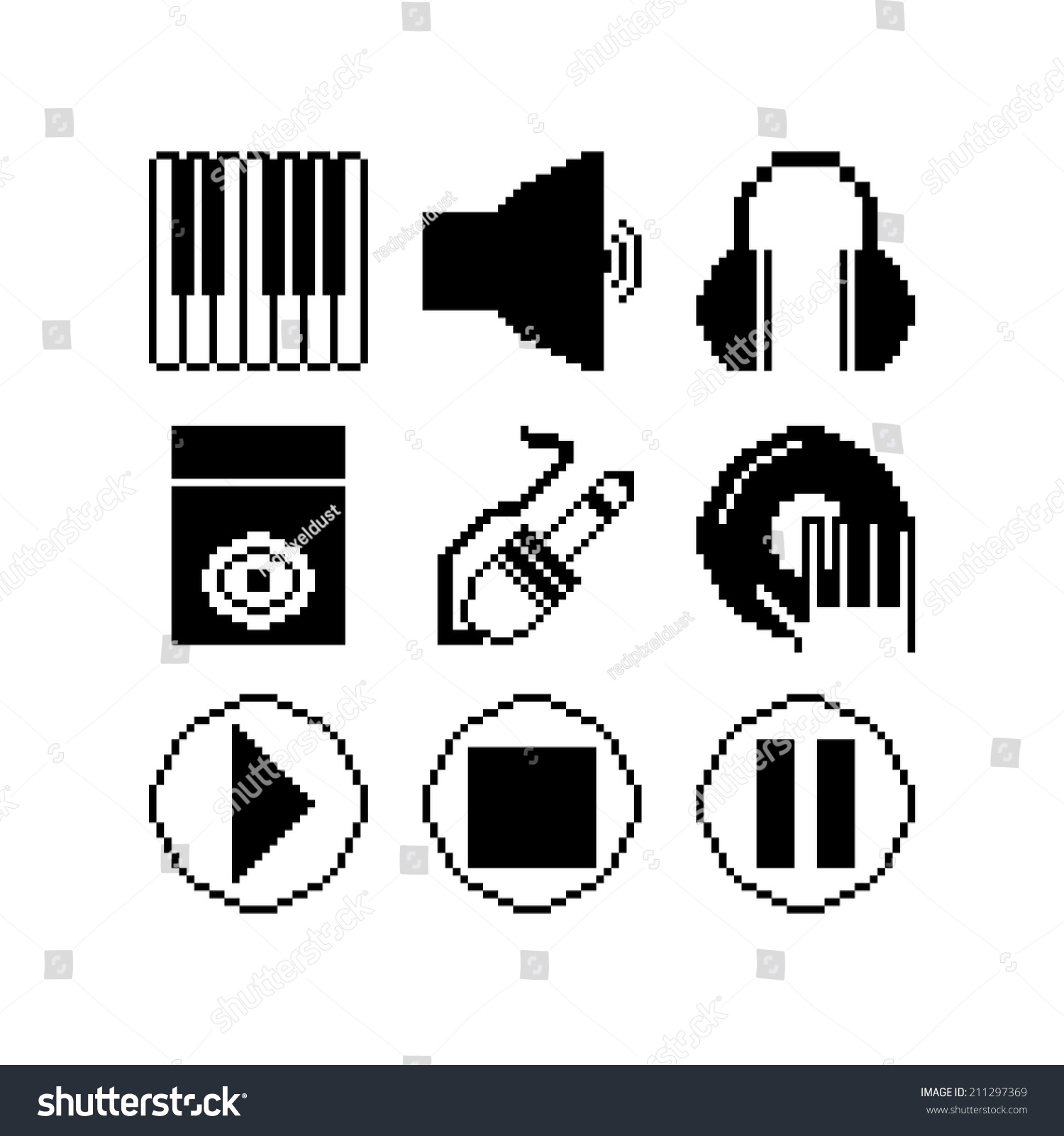 Vector Set Music Related 8 Bit Stock Vector Royalty Free 211297369