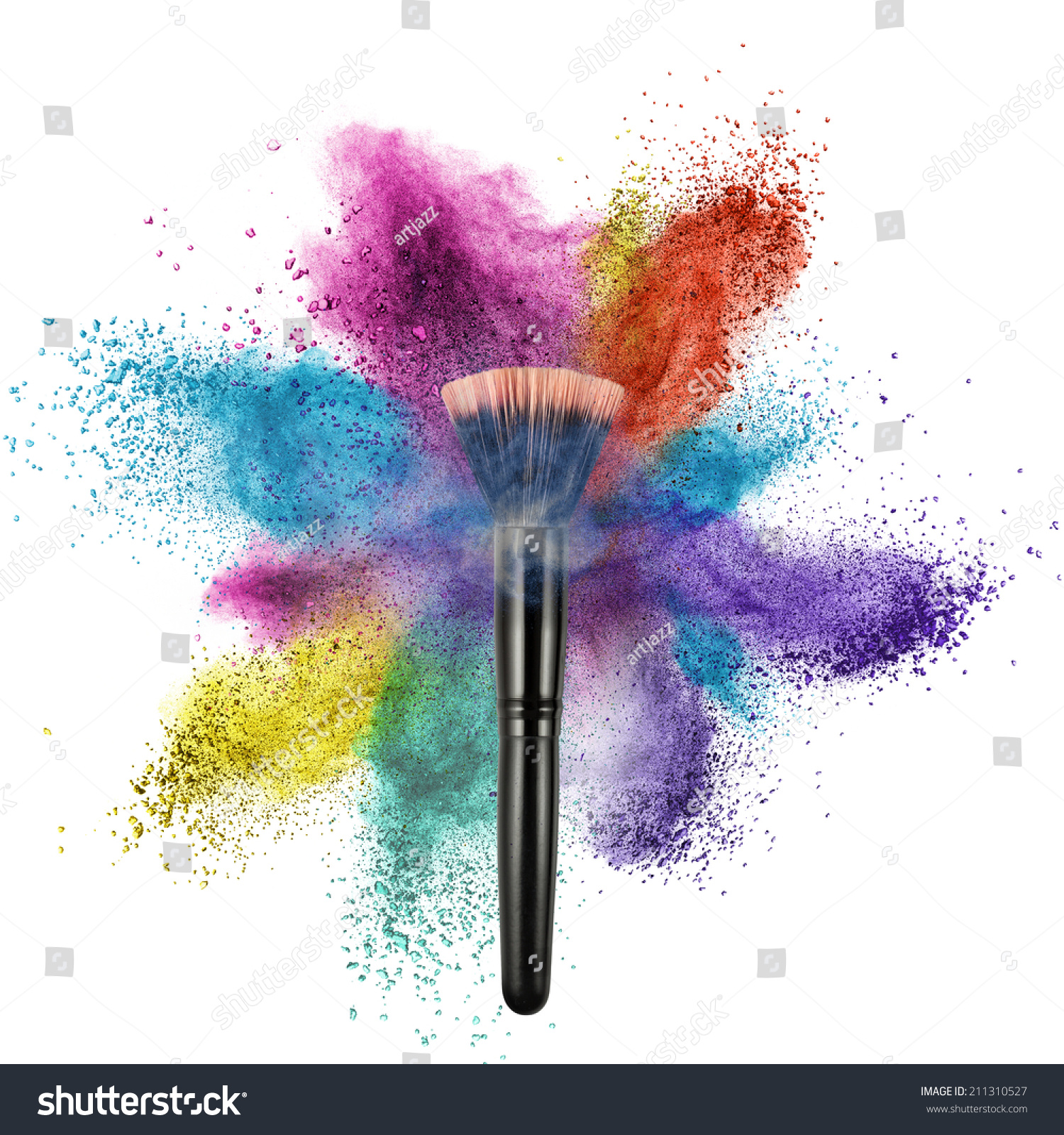 Makeup Brush Color Powder Isolated On Stock Photo