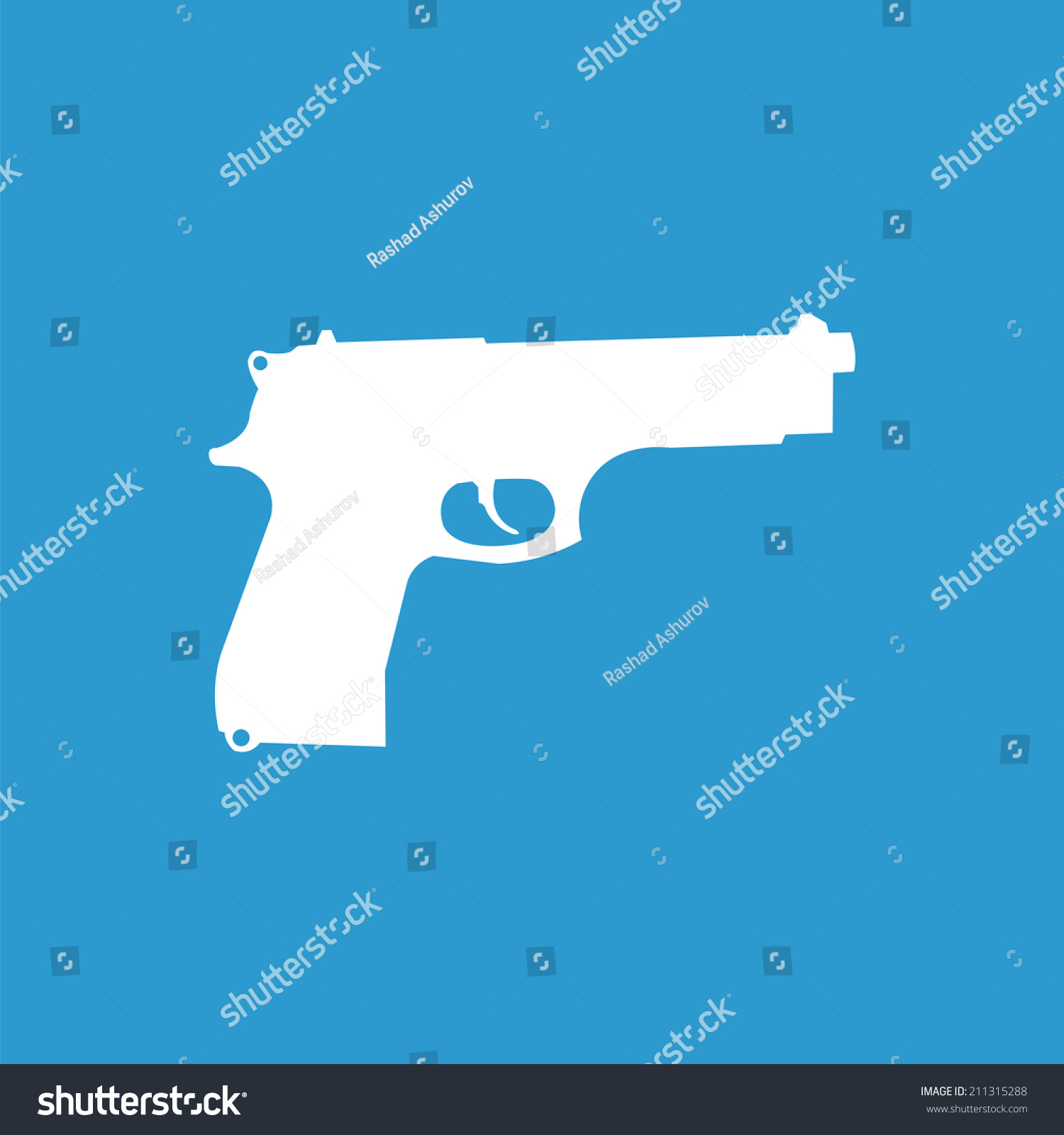 Gun Icon Isolated White On Blue Stock Vector Royalty Free