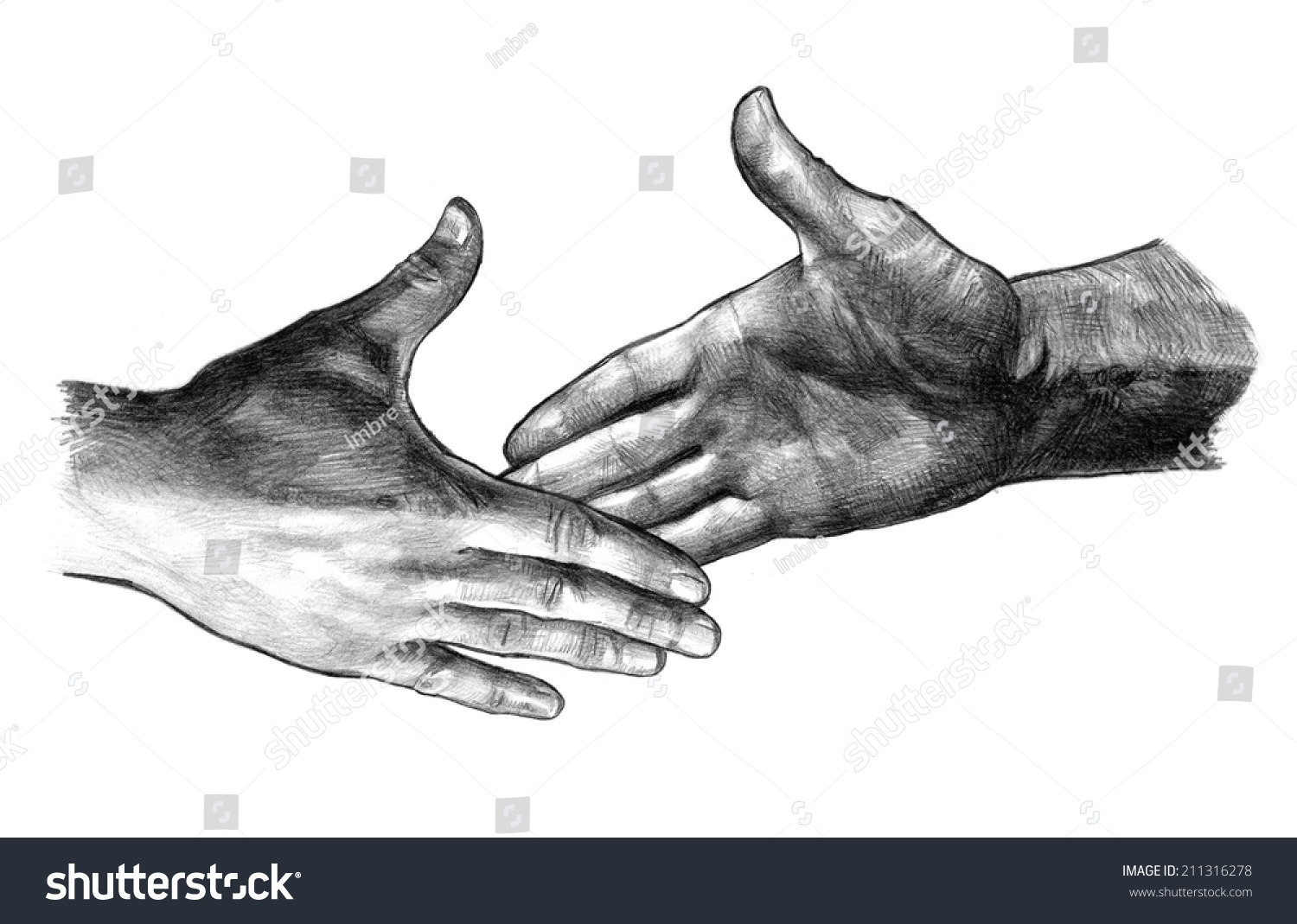 Handshake pencil drawing