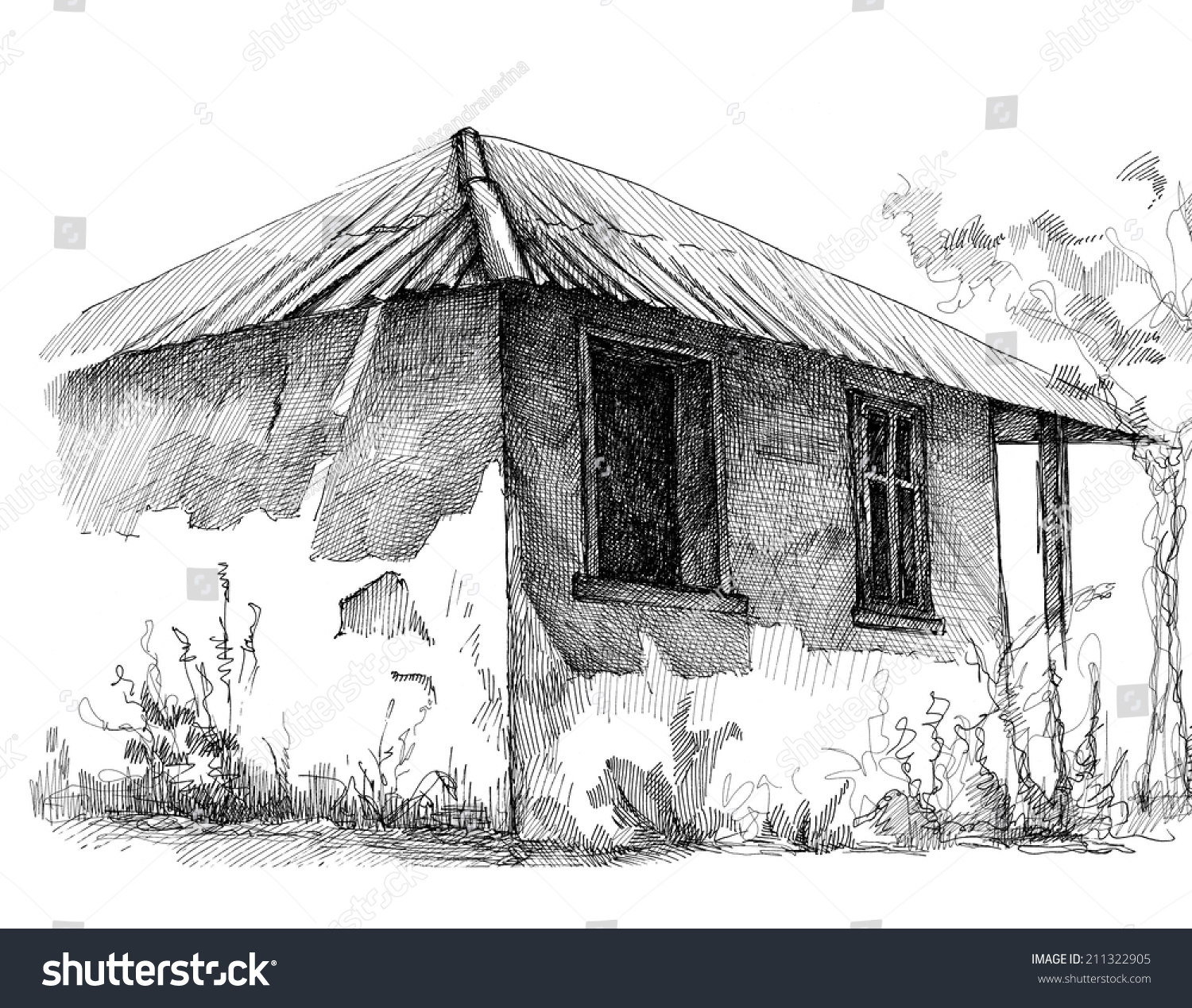 Pencil drawing of a village house pencil drawing of an old rural house
