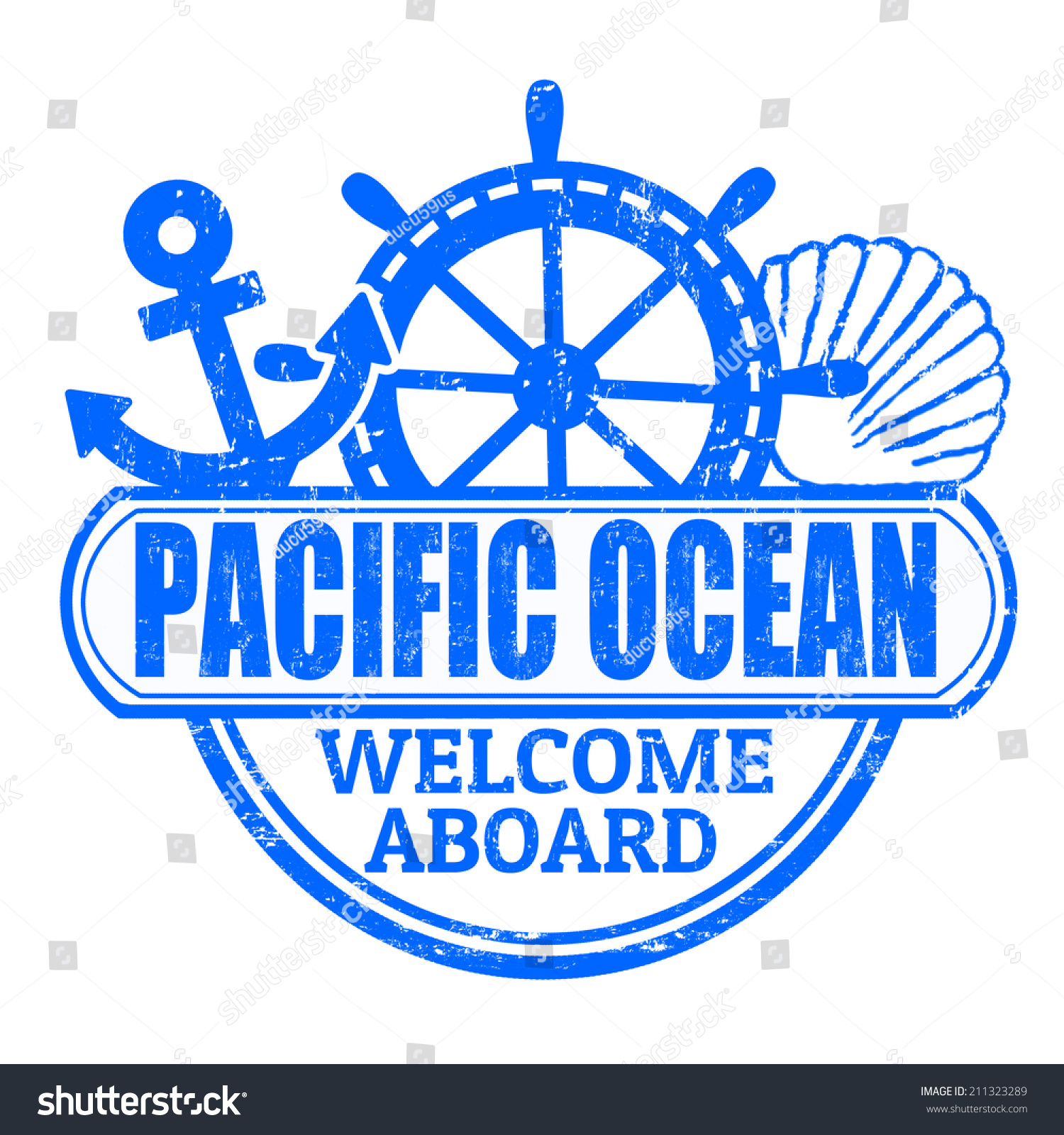 Grunge Rubber Stamp Text Pacific Ocean Stock Vector 211323289