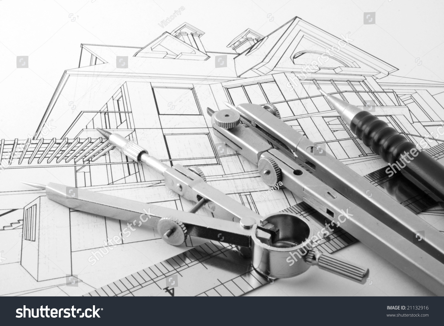 Architecture Drawing Instruments architecture home draw drawing instruments stock photo 21132916
