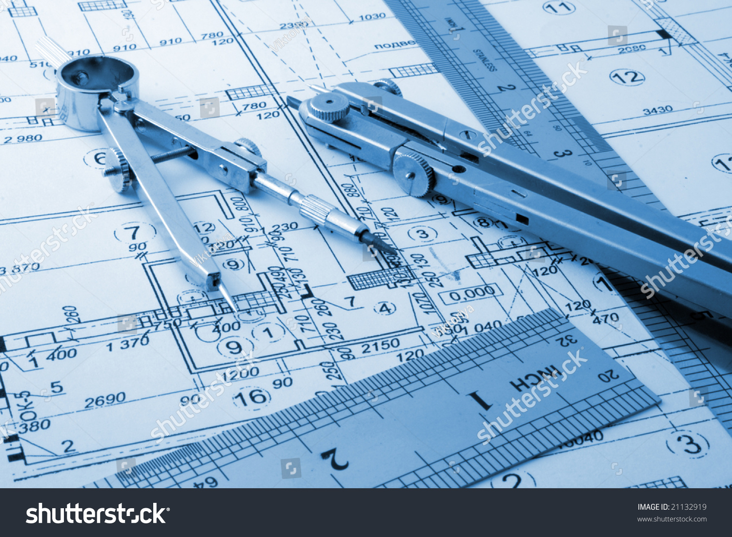 Architecture Plan Draw Drawing Instruments Stock Photo